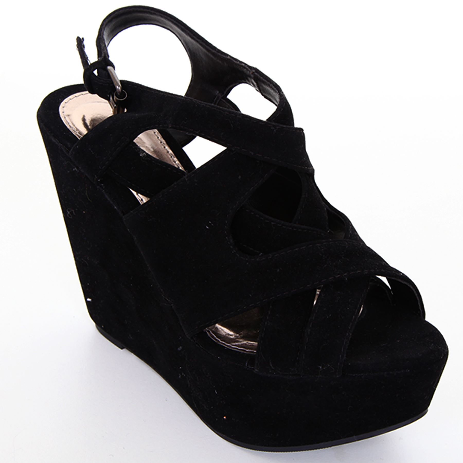 Ladies-Cross-Wrap-Strap-Front-Peep-Toe-Womens-High-Black-Wedges-Shoes