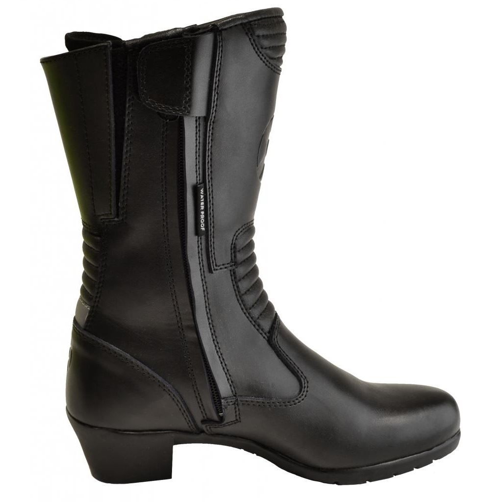 Simple  Milano Motorcycle Boot Women Leather Black Mid Calf Boot Boots