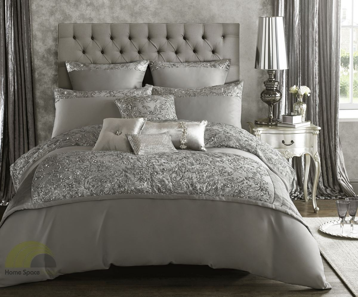 kylie minogue alexa silver quilt duvet cover or pillowcases   - kylieminoguealexasilverquiltduvetcoveror