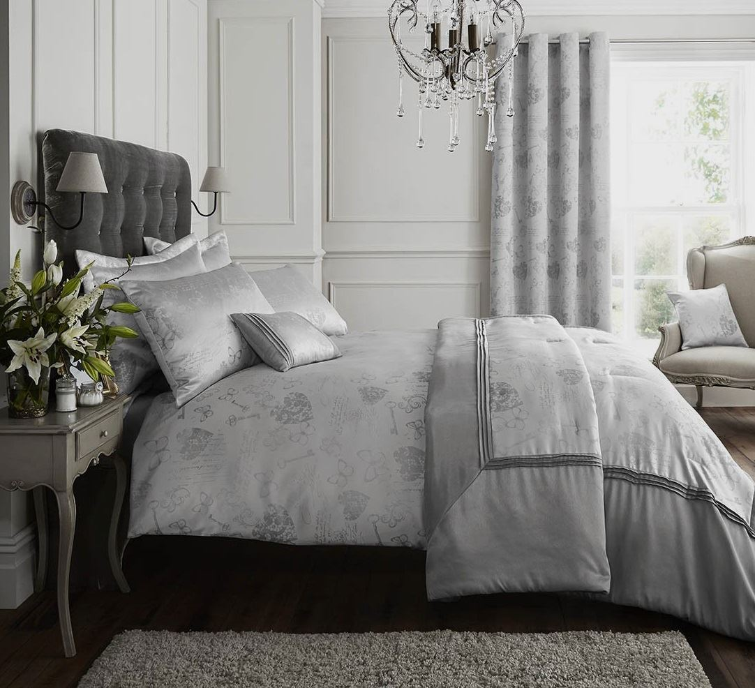 Silver Grey Curtains Eyelet Or Single Quilt Duvet Cover