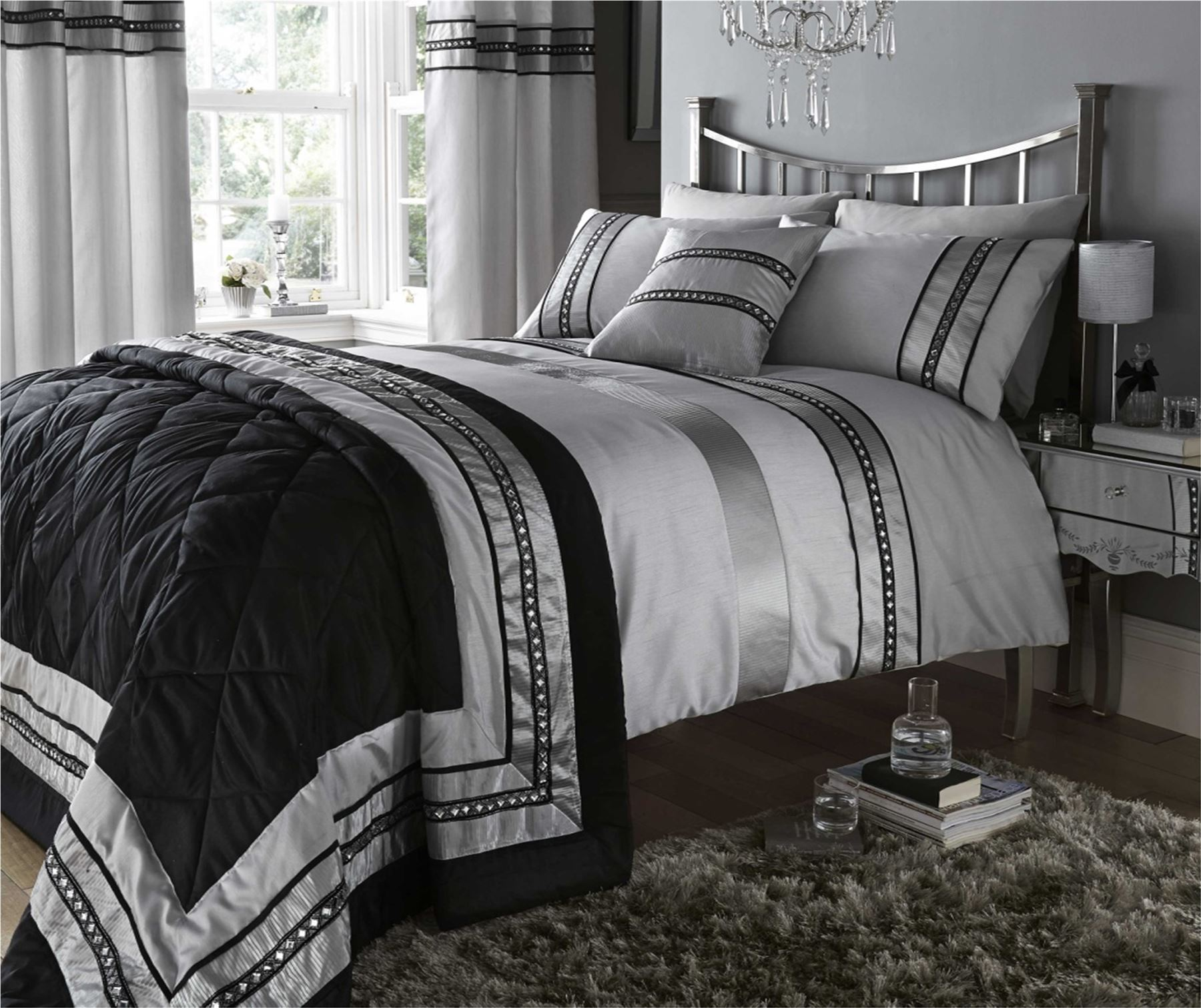 White and silver bedding