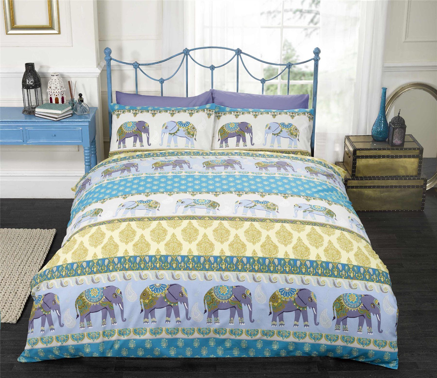 blue indian style elephant duvet cover pillowcase. Black Bedroom Furniture Sets. Home Design Ideas