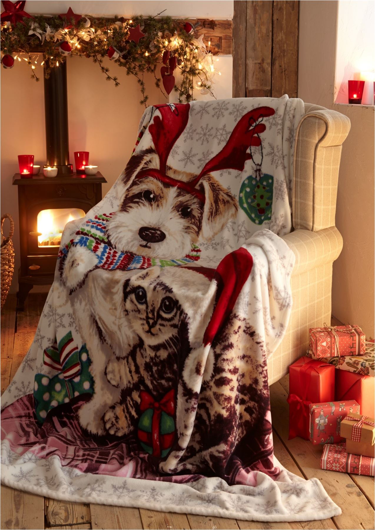 Christmas soft fleece throws decorative bed sofa blanket xmas father christmas - Decorative throws for furniture ...