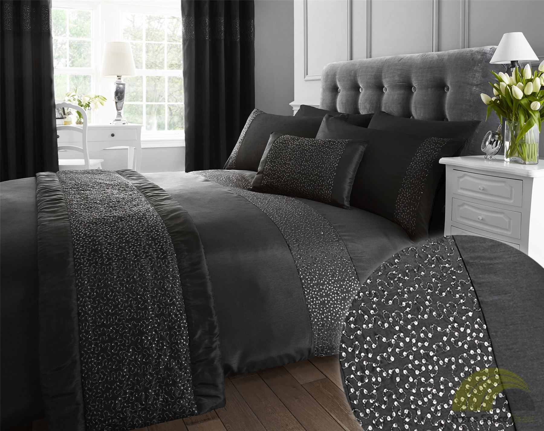 quilt duvet cover pillowcase bedding bed sets sequined cream black 3 sizes new. Black Bedroom Furniture Sets. Home Design Ideas