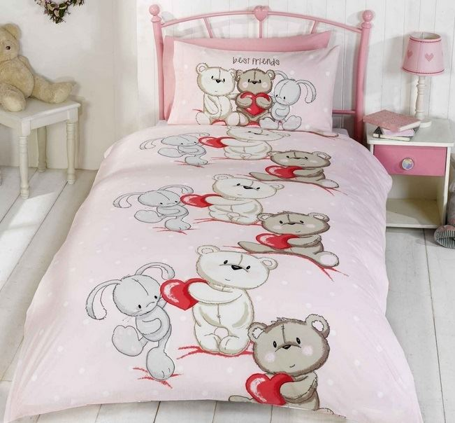 teddy bear bunny rabbit kids quilt duvet cover. Black Bedroom Furniture Sets. Home Design Ideas
