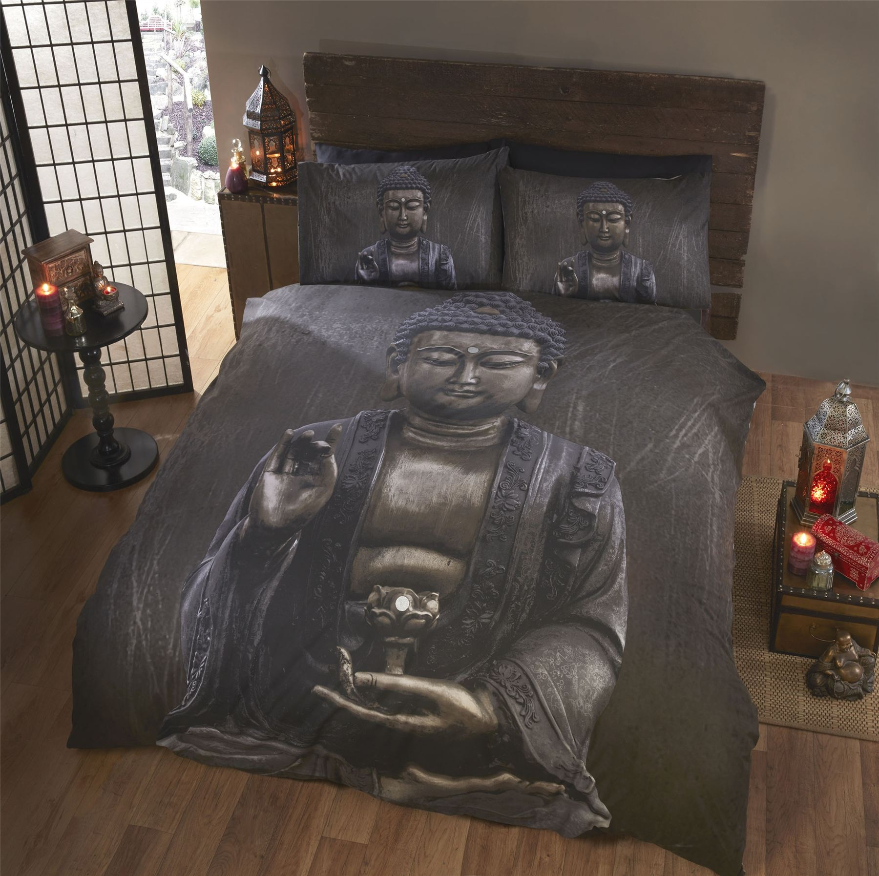 buddha duvet cover pillowcase bedding bed sets budda grey brown polycotton. Black Bedroom Furniture Sets. Home Design Ideas