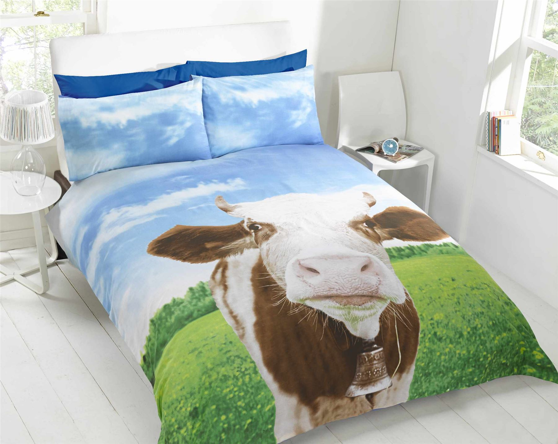 Cow novelty farm animals quilt duvet cover pillowcase for Housse de couette vache