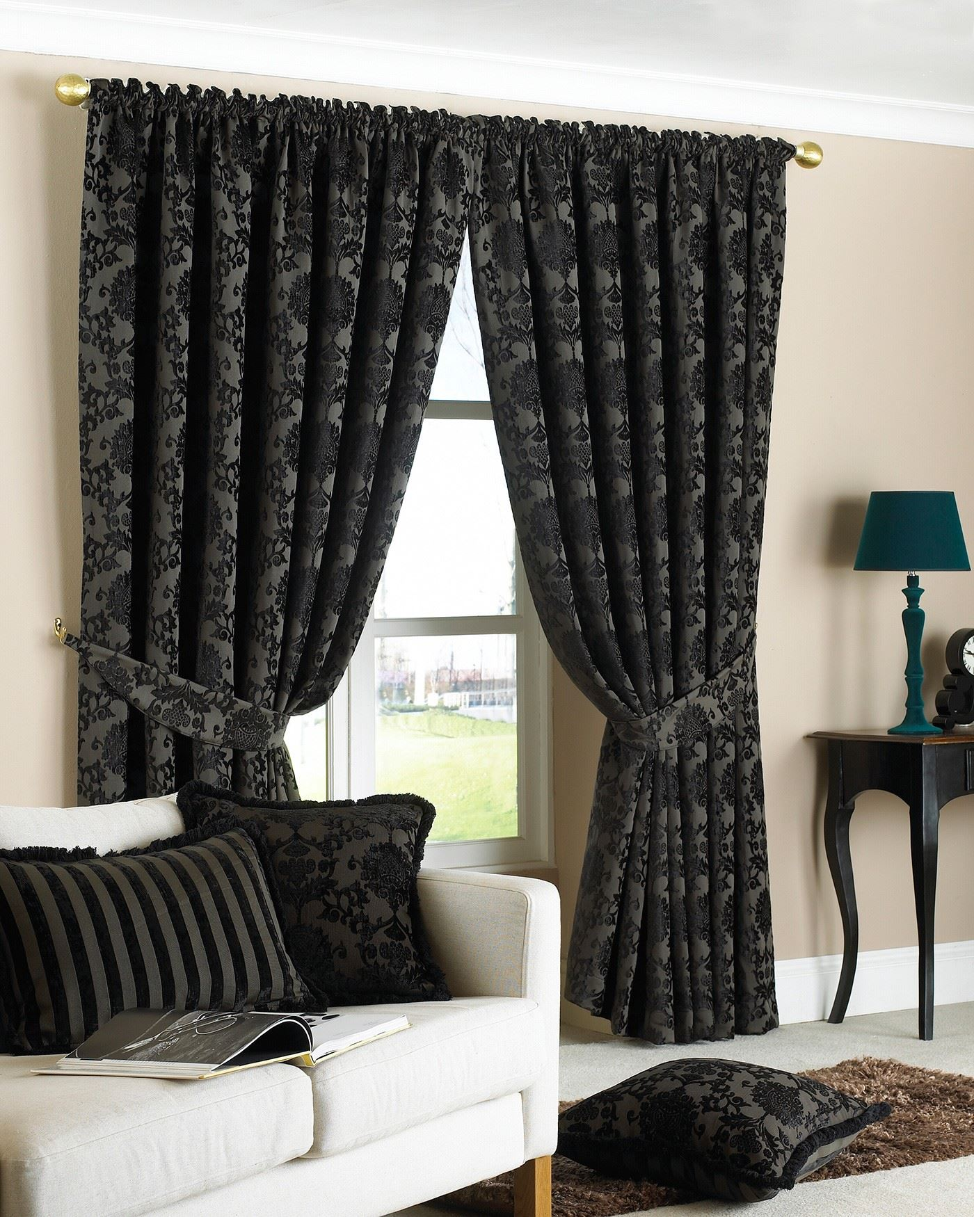 luxury curtains ready made pencil pleat matching. Black Bedroom Furniture Sets. Home Design Ideas