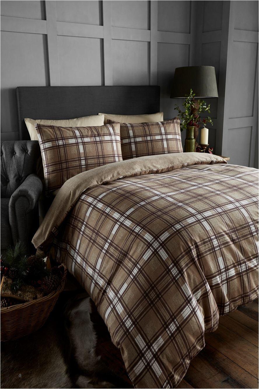 100 Brushed Cotton Tartan Quilt Duvet Cover Amp Pillowcase