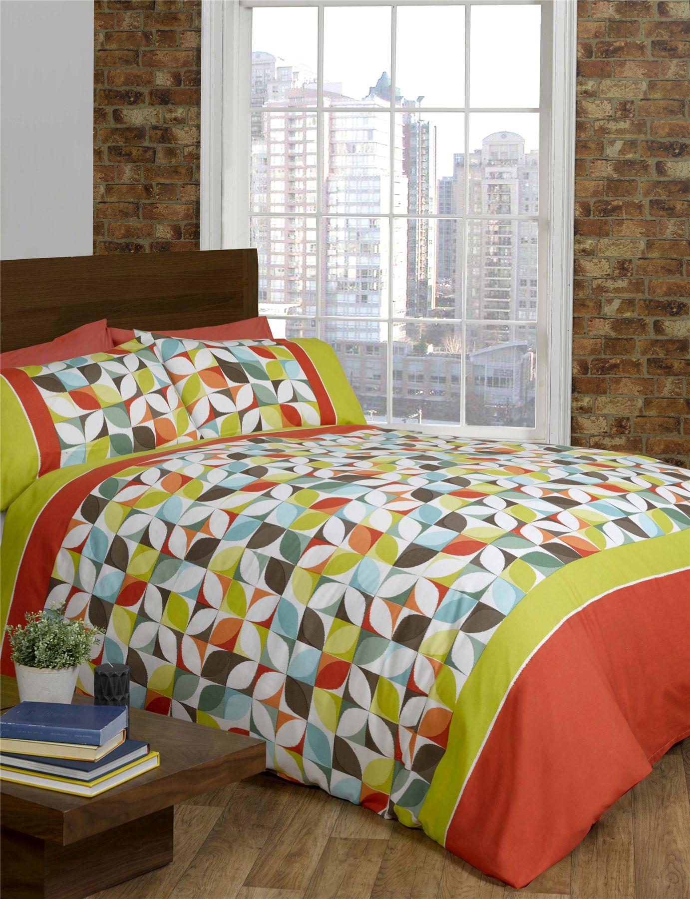 lime green orange purple quilt duvet cover  pcase bed set  - limegreenorangepurplequiltduvetcoveramp
