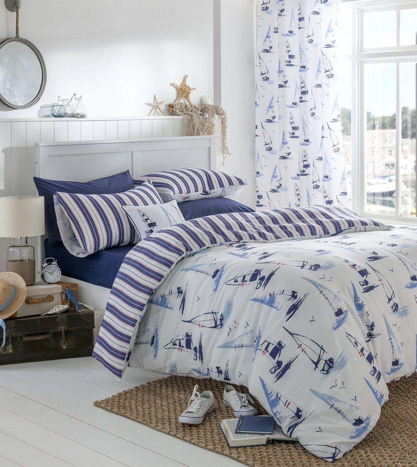 Nautical Bedding King: Nautical Boats Duvet Cover Bedding Sets Or Eyelet Curtains