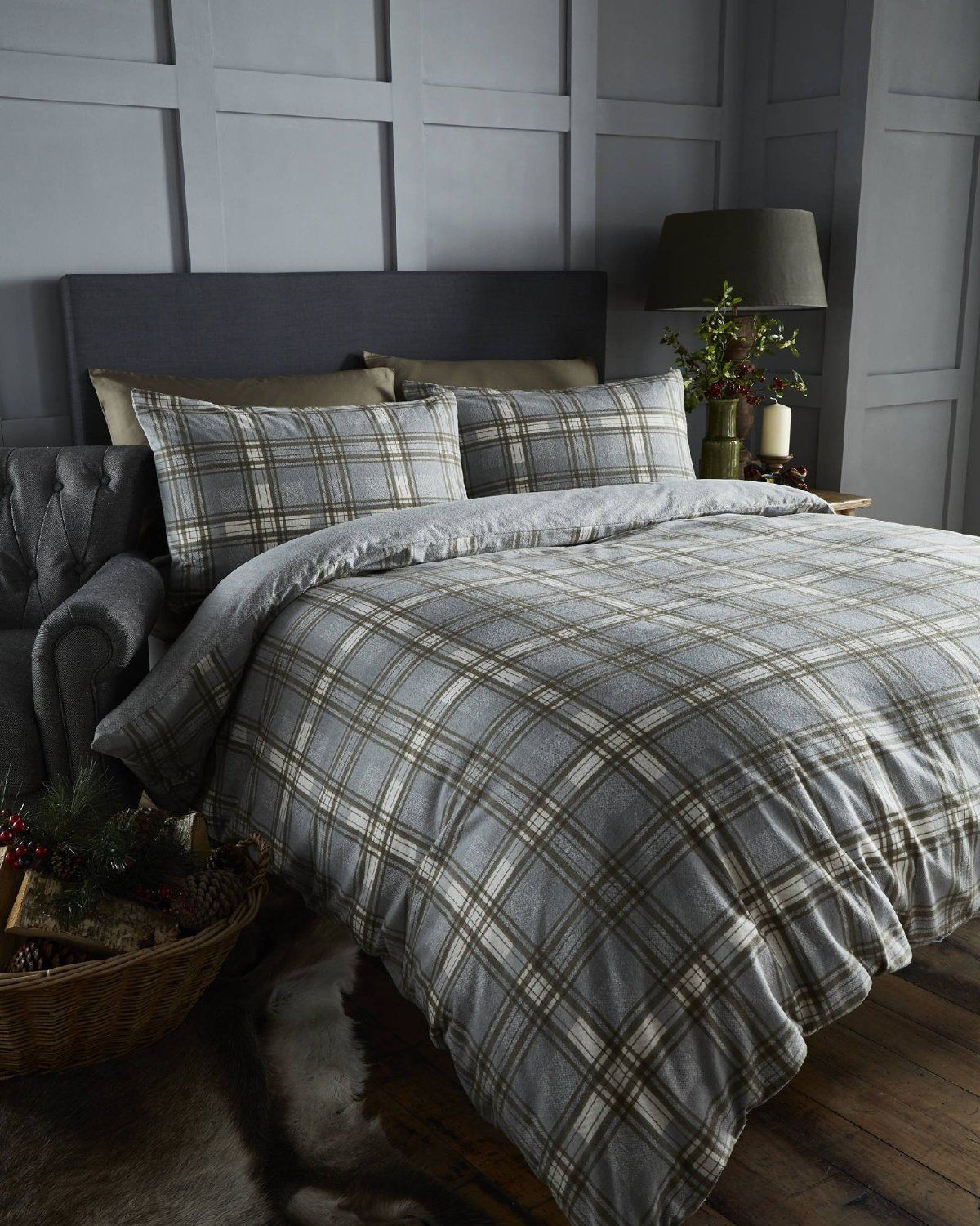 100 brushed cotton tartan quilt duvet cover pillowcase. Black Bedroom Furniture Sets. Home Design Ideas
