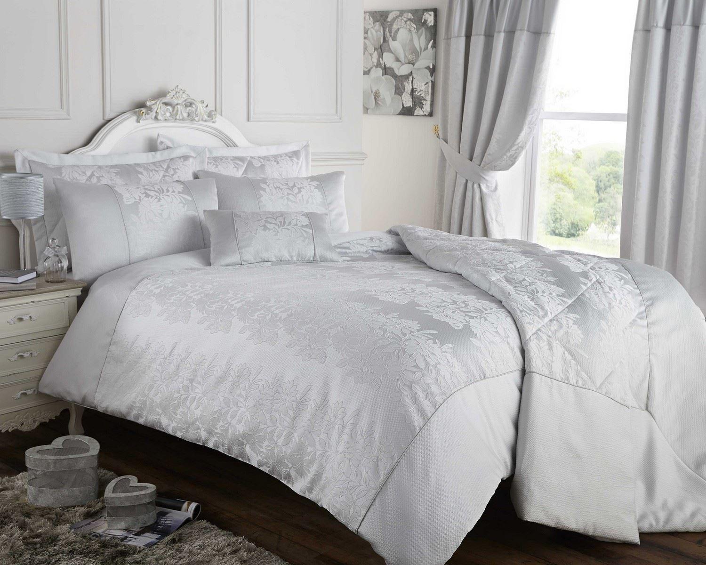 Gris argent housse couette couvre lit ou rideaux jacquard for Housse de couette argent