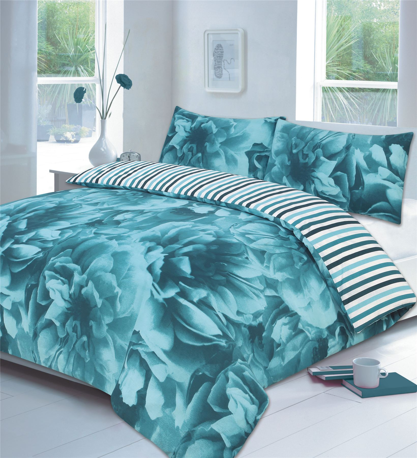 Rose Floral Lilac Or Teal Or Red Duvet Cover P Case