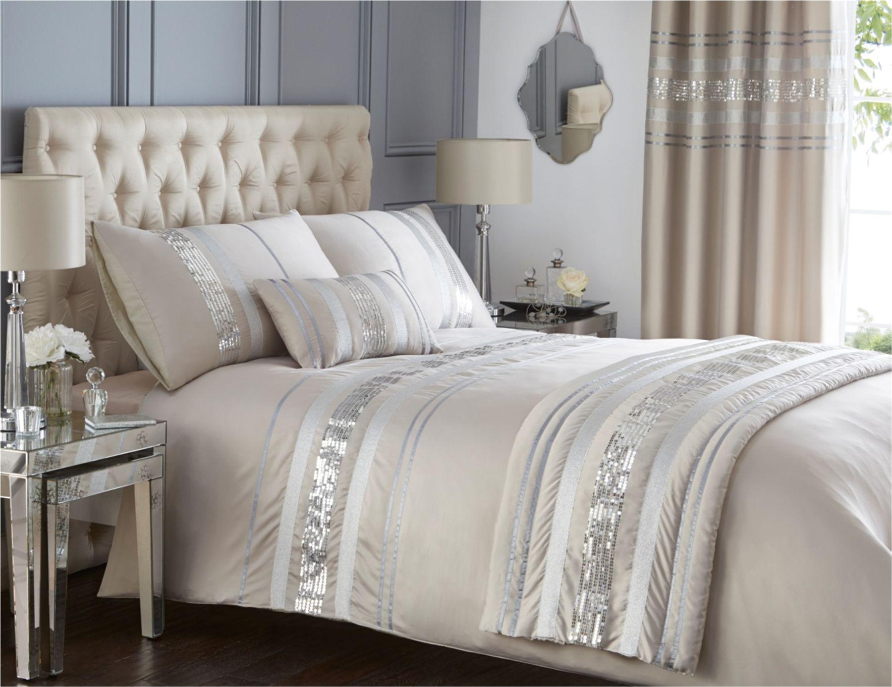 Modern sequin quilt duvet cover 2 pillowcase bedding bed - Housse de couette beige taupe ...