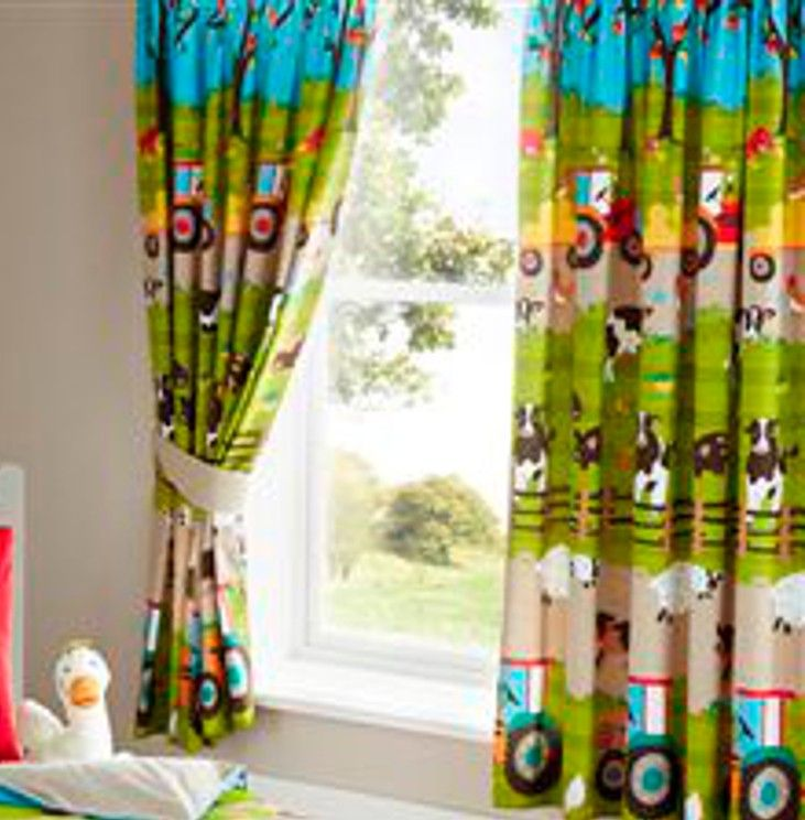 Farm animals tractor kids duvet cover or matching curtains - Cortinas infantiles valencia ...