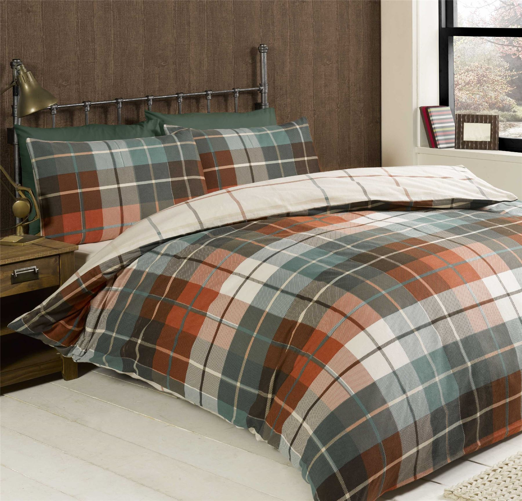 Checked & Striped Quilt Duvet Cover & Pillowcase Bedding ...