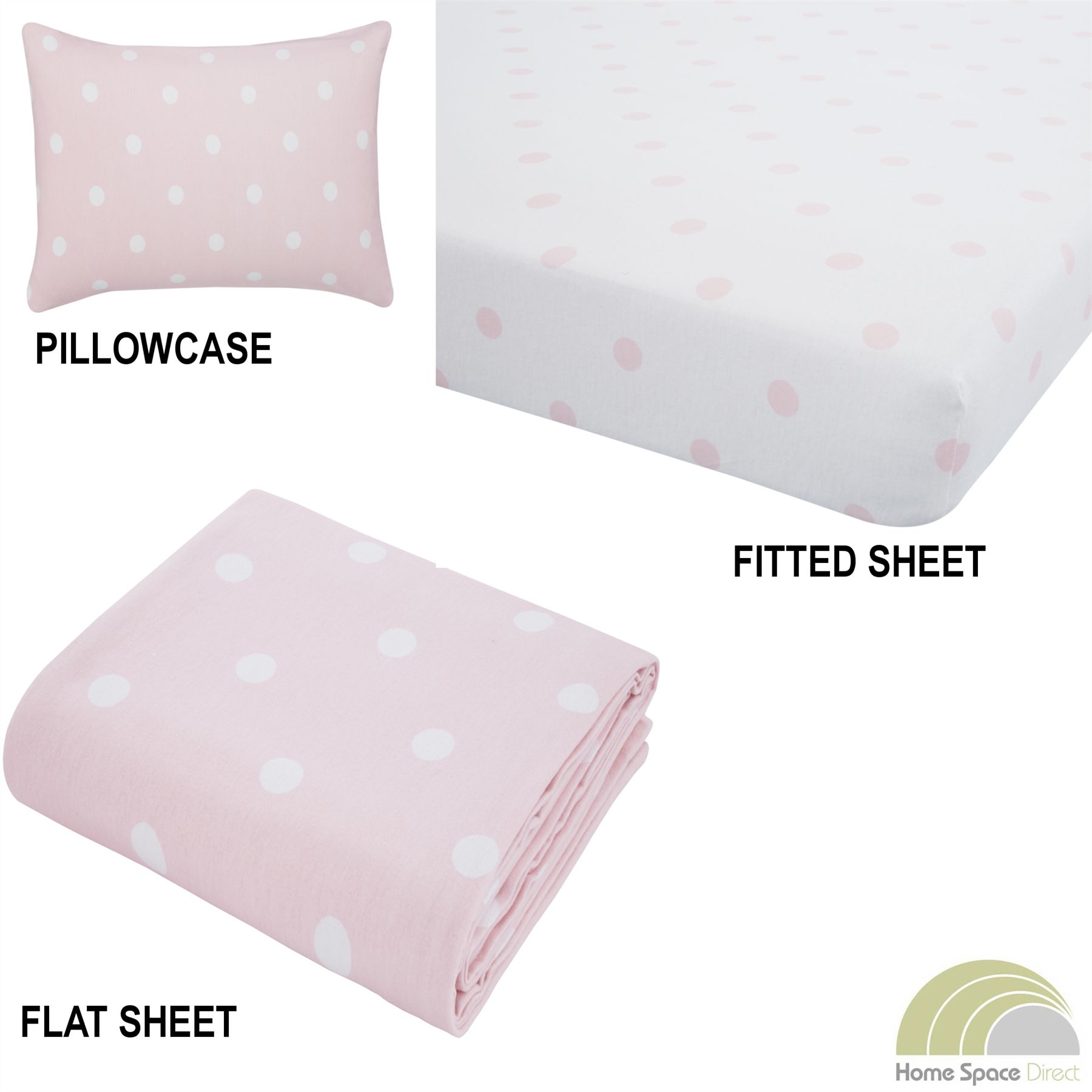 100% Cotton Flannelette Sheets Fitted Flat Pillowcases