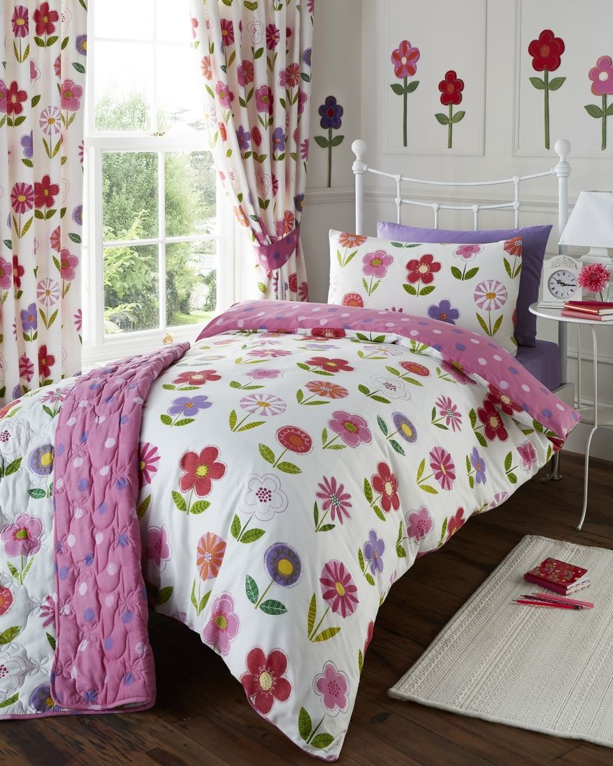 Girls Childrens Quilt Duvet Cover Pillowcase Bedding Sets Or Matching Curtains Ebay