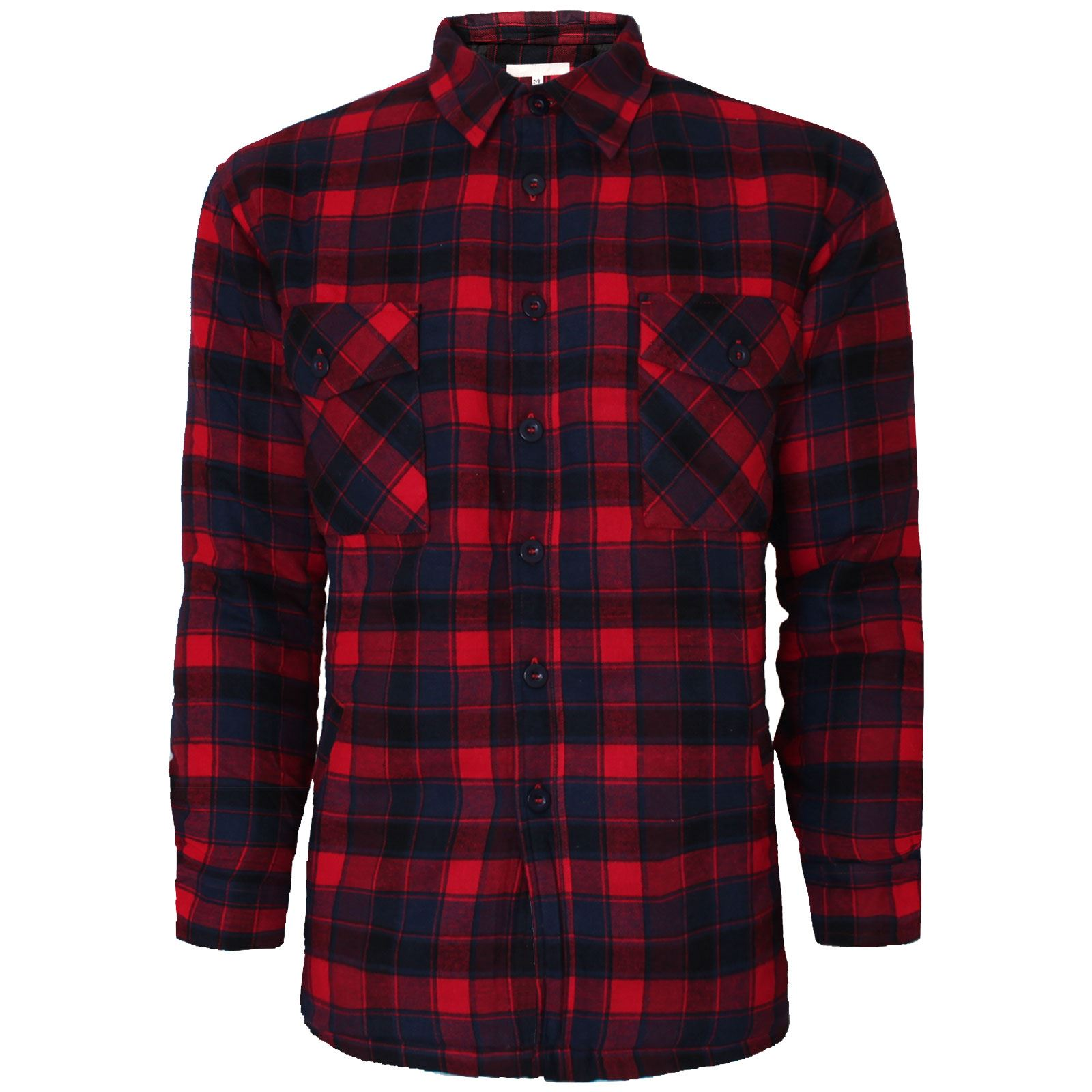New mens thick padded check lumberjack quilted shirt warm for Mens padded lumberjack shirt