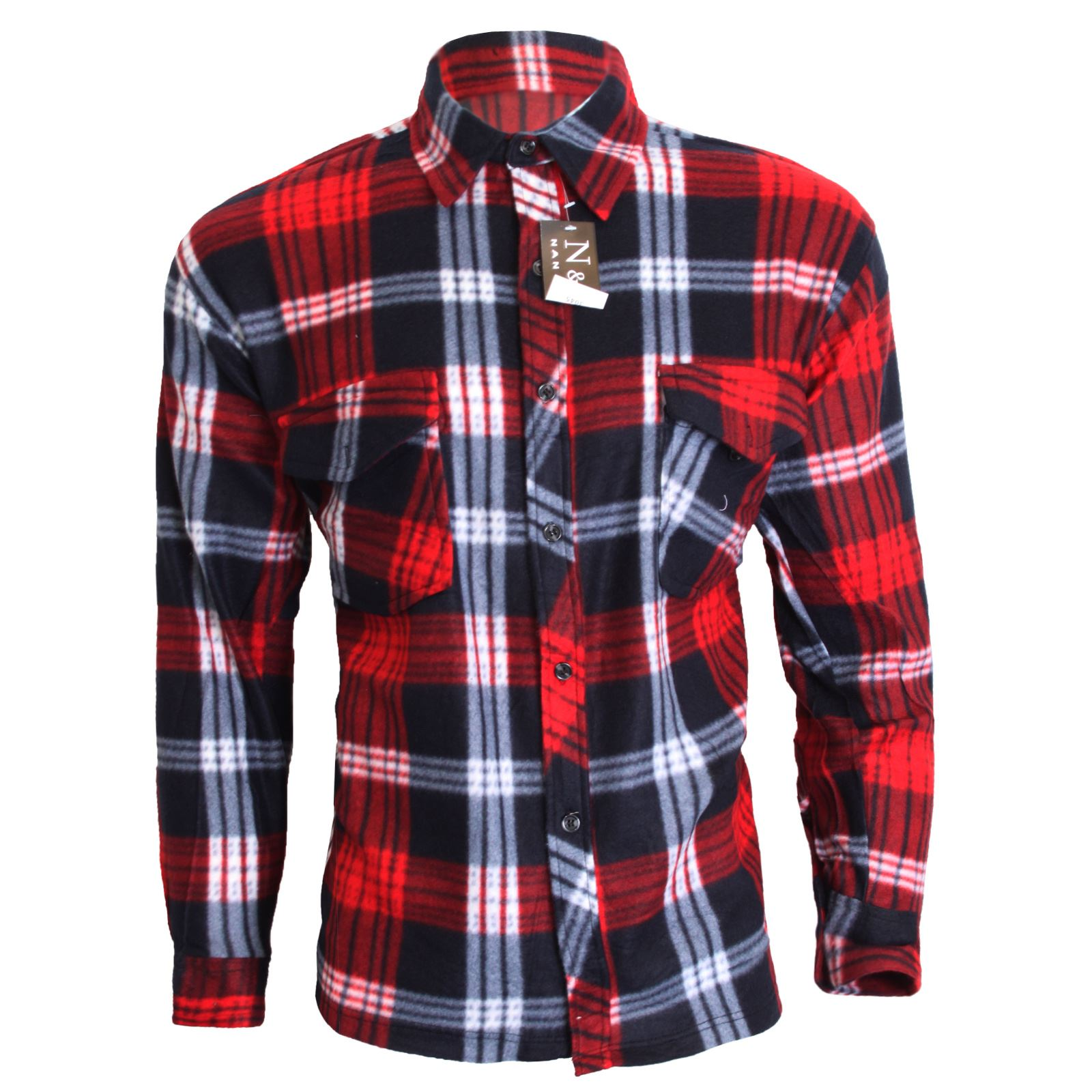 Mens fleece lined check shirt winter thermal button top for Mens insulated flannel shirts
