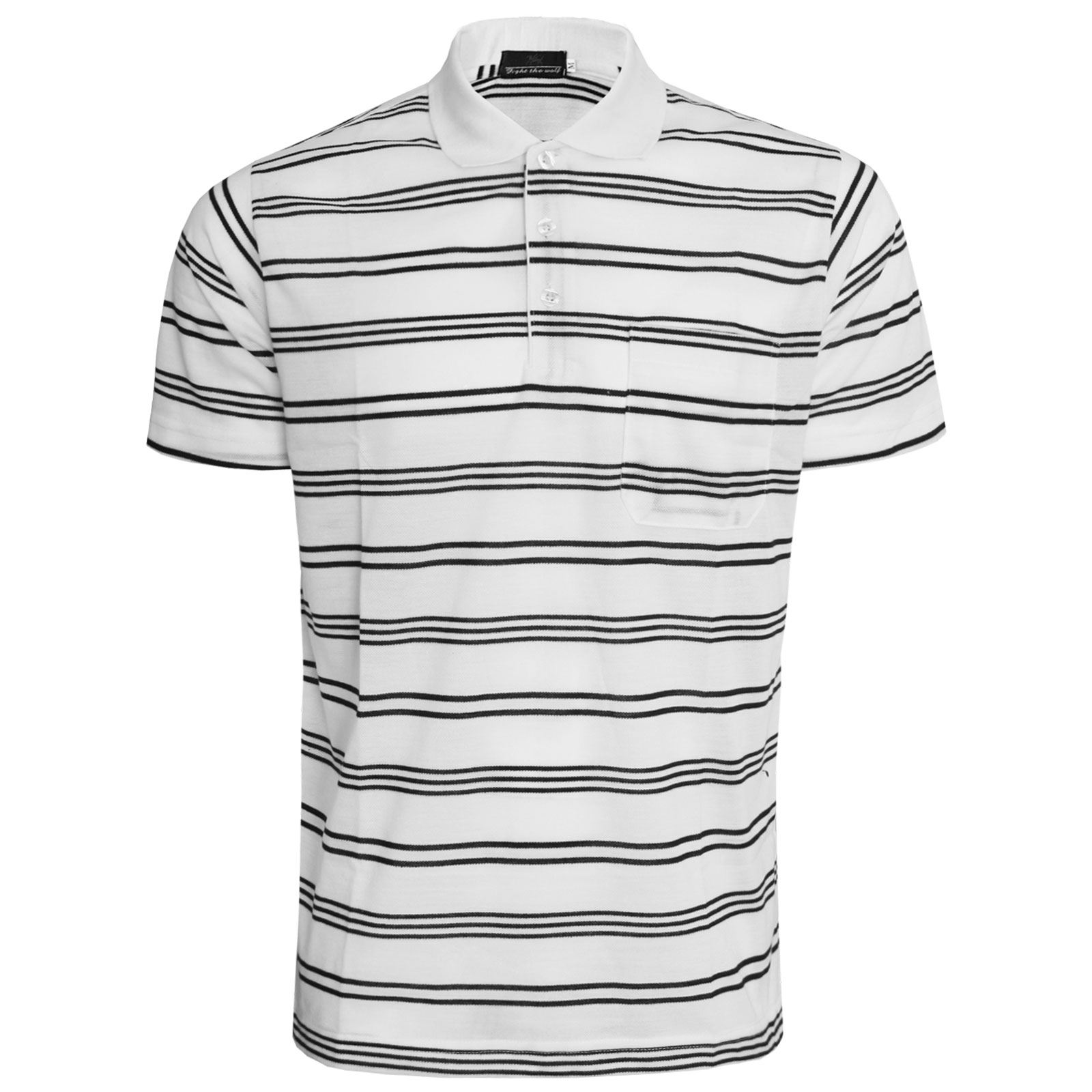 Black and white striped t shirt xxl - Mens Striped Polo Shirt Short Sleeve Top Golf