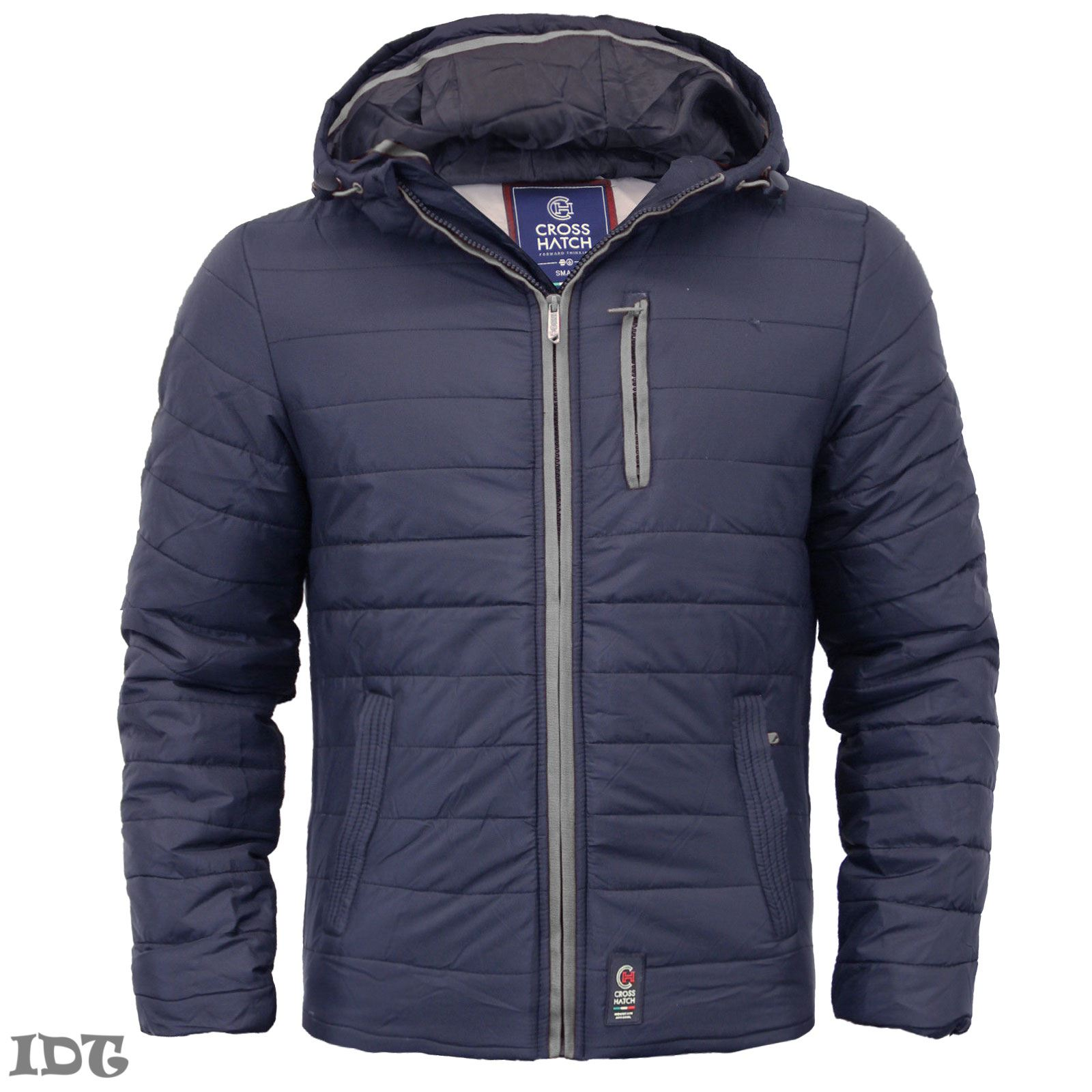 MENS CROSSHATCH WINTER JACKET PADDED QUILTED COAT BUBBLE PUFFER ...