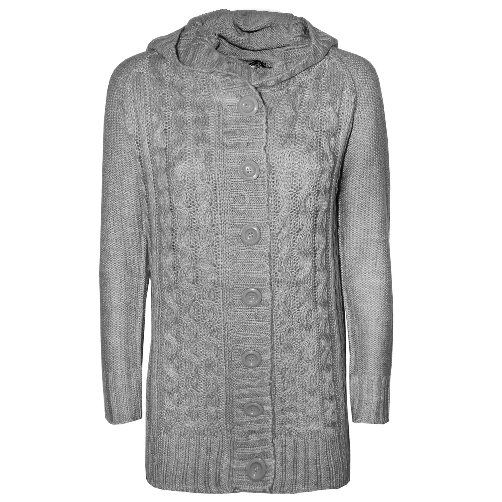 LADIES LONG CABLE KNITTED HOODED CARDIGAN WOMENS ARAN CHUNKY ...