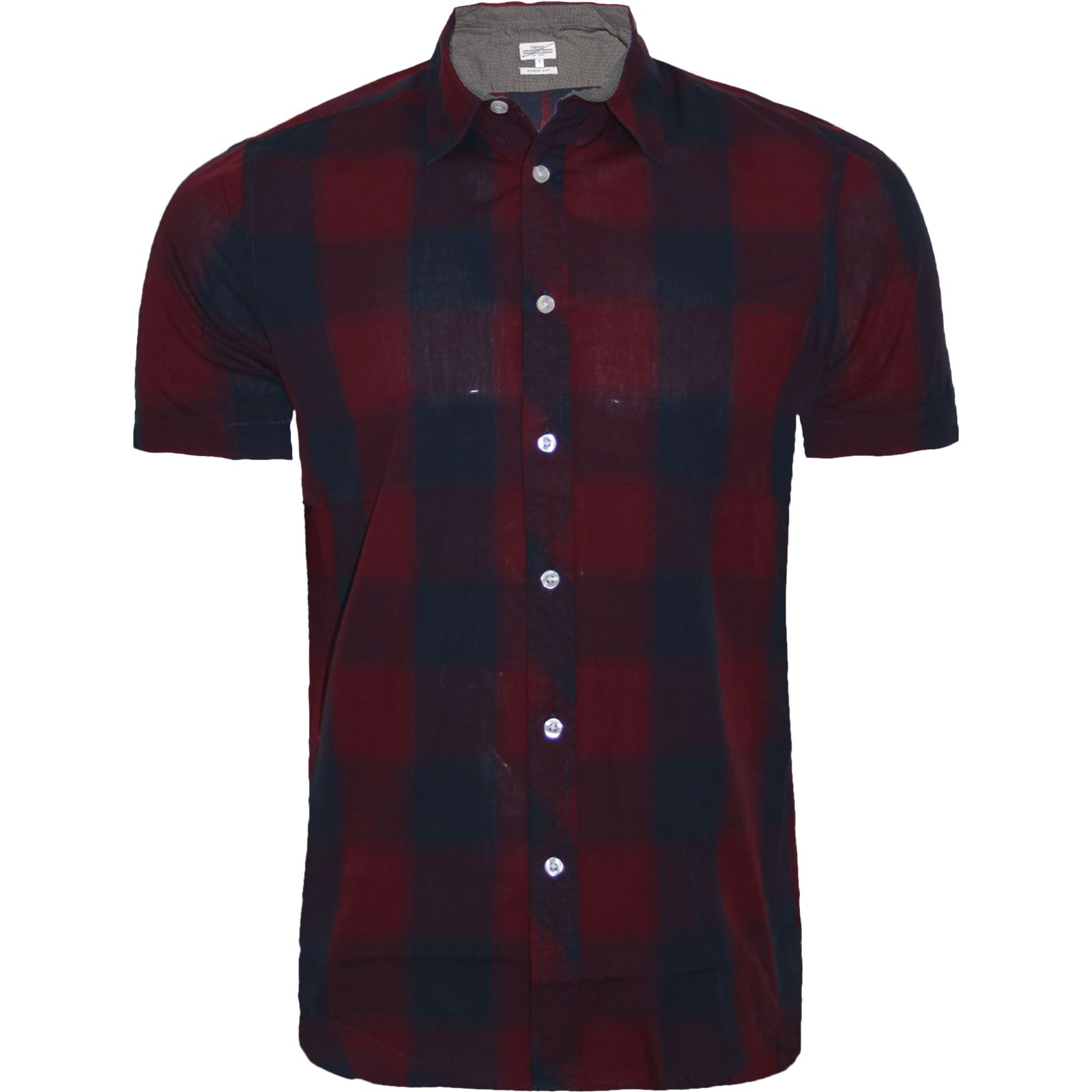 mens next short sleeve casual check print smart cotton