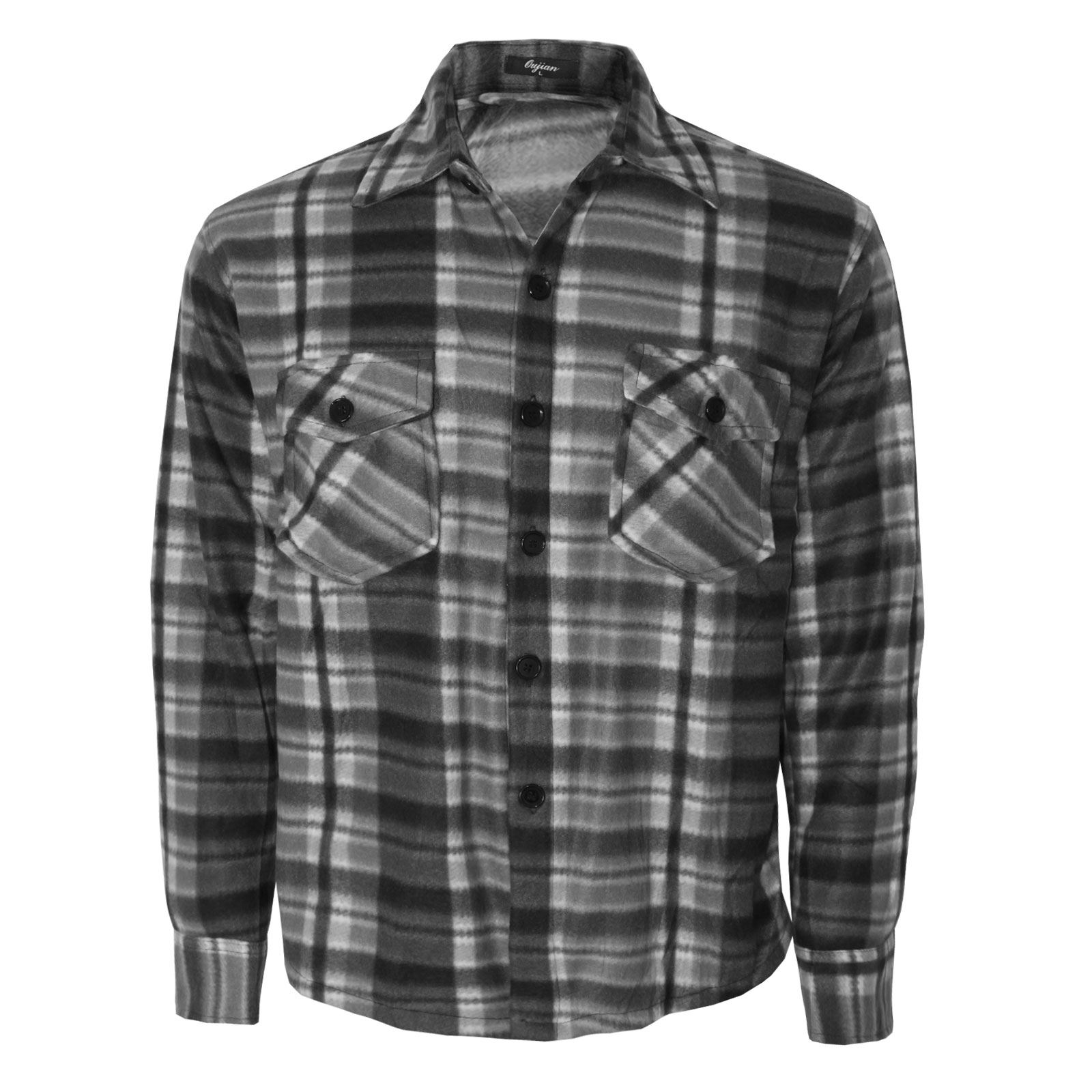 MENS FLEECE LINED CHECK SHIRT WINTER THERMAL BUTTON TOP ...