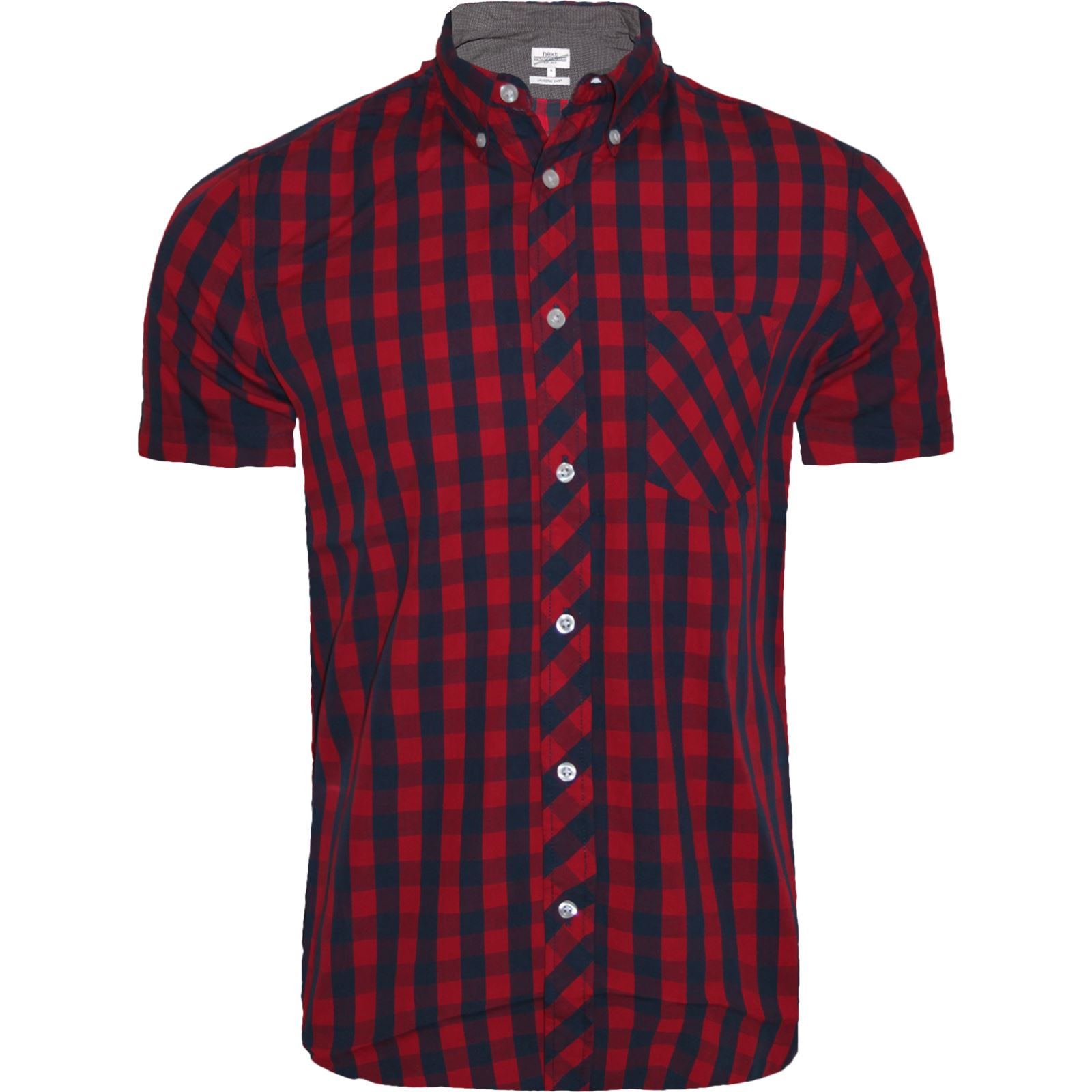 mens next short sleeve casual check print smart cotton