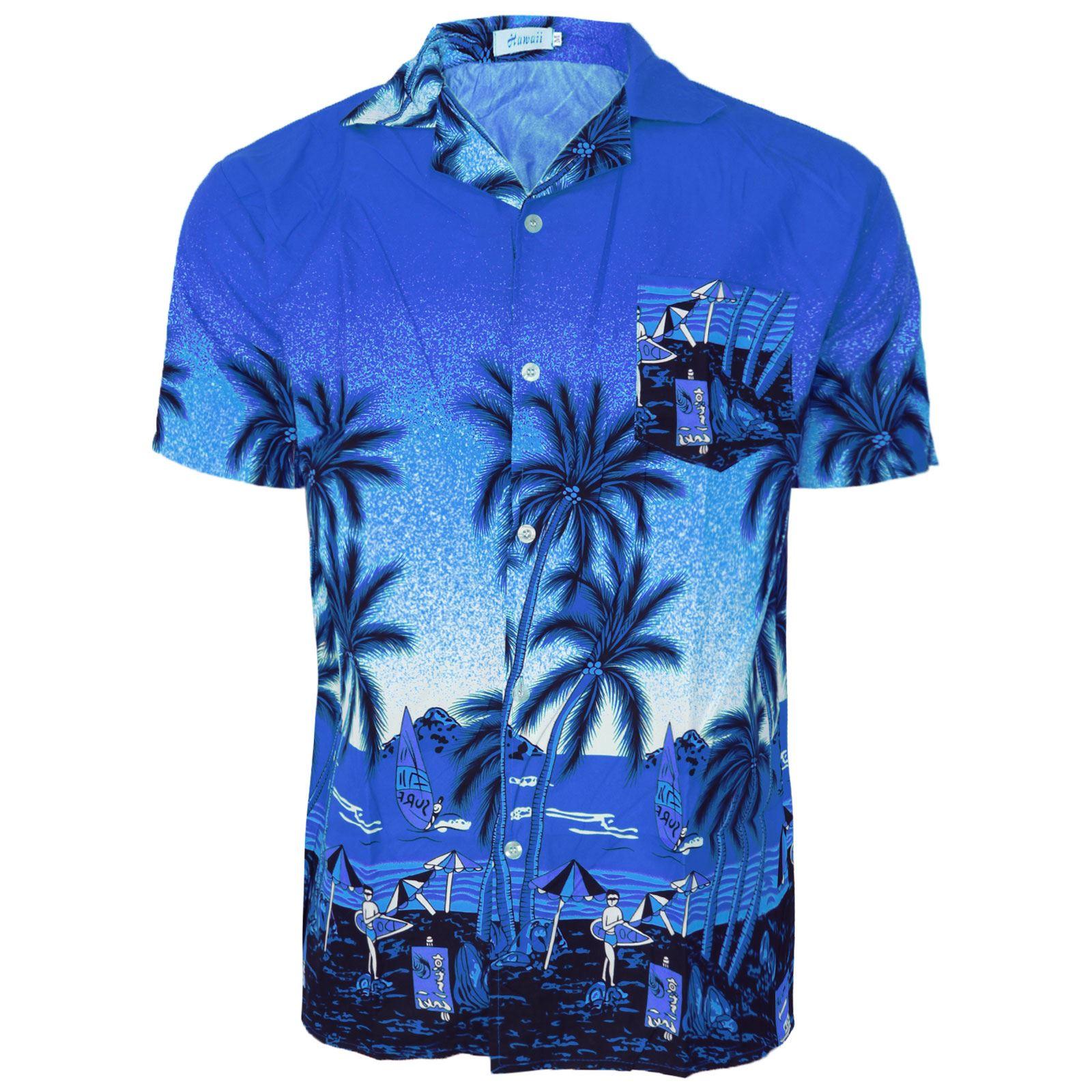 Mens hawaiian shirt floral print rockabilly surf beach for Flower print mens shirt