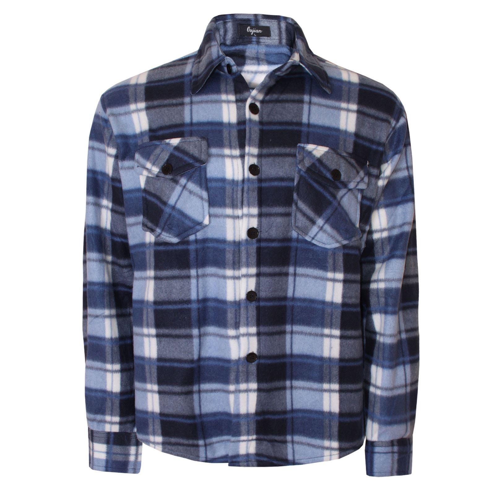 Mens Button Up Check Lined Lumberjack Fleece Shirt Work