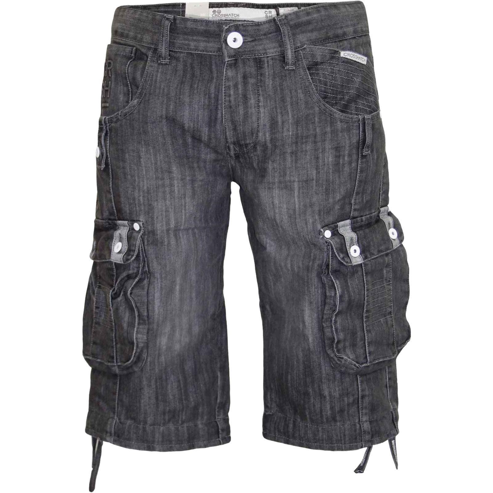 New Mens Designer Crosshatch Denim Shorts Cargo Combat Pants Jeans ...