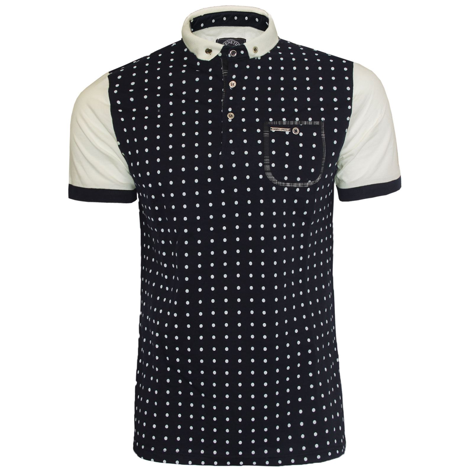 Design t shirt colar - New Mens Short Sleeve Polka Design Smart Collar