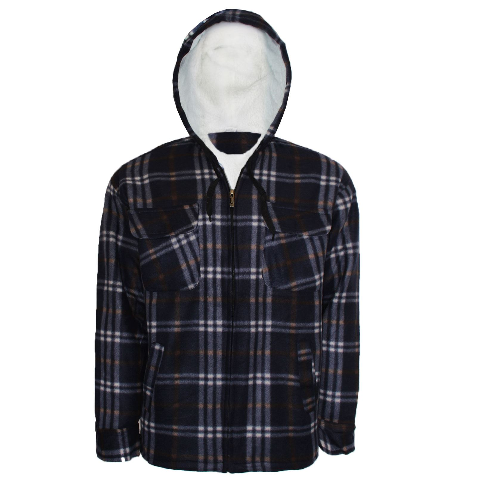 Mens sherpa lined hooded check shirt padded fleece thick for Sherpa lined flannel shirt