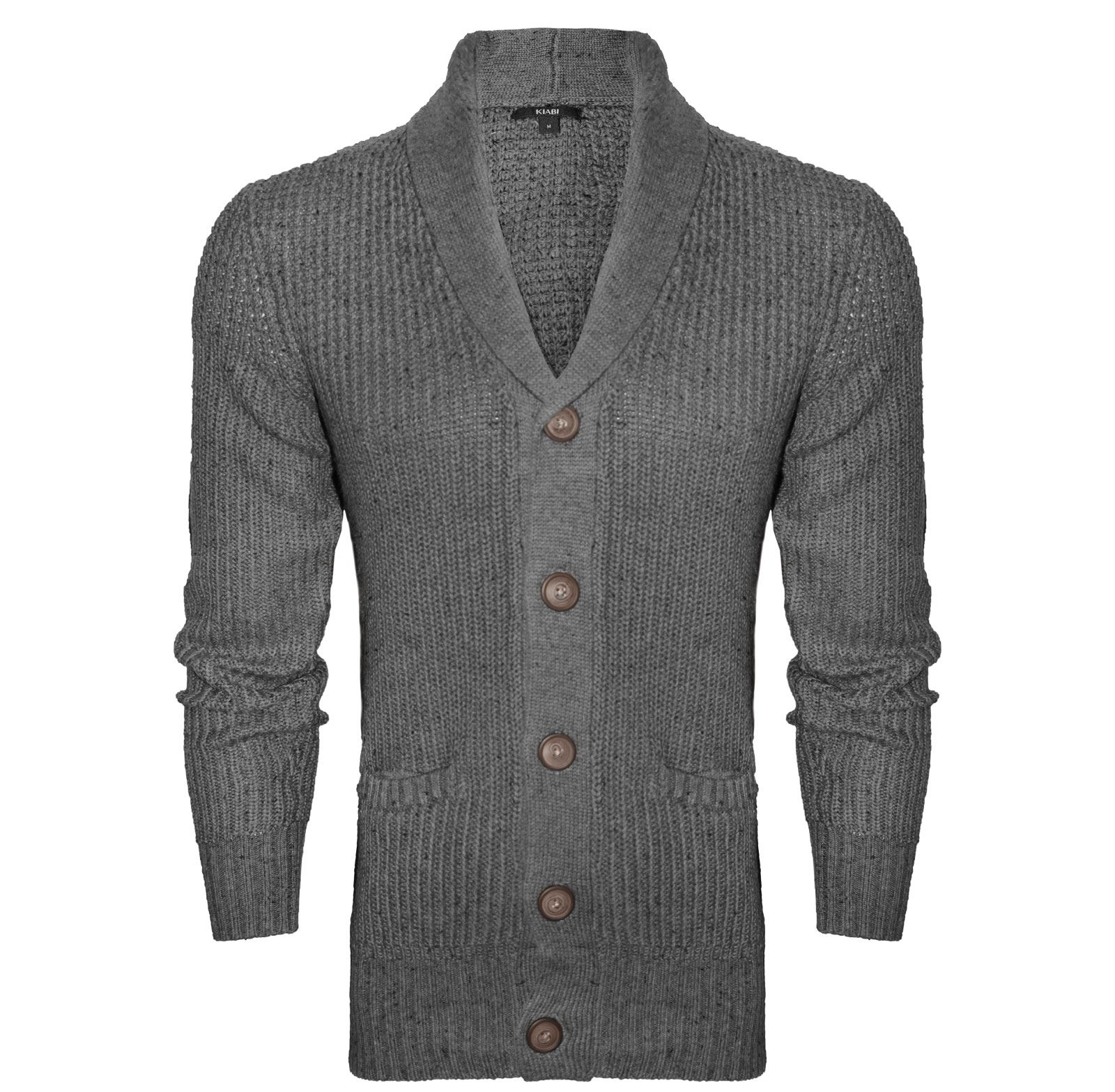 NEW MENS SHAWL COLLAR LONG SLEEVE KNITTED CARDIGAN BUTTON ...
