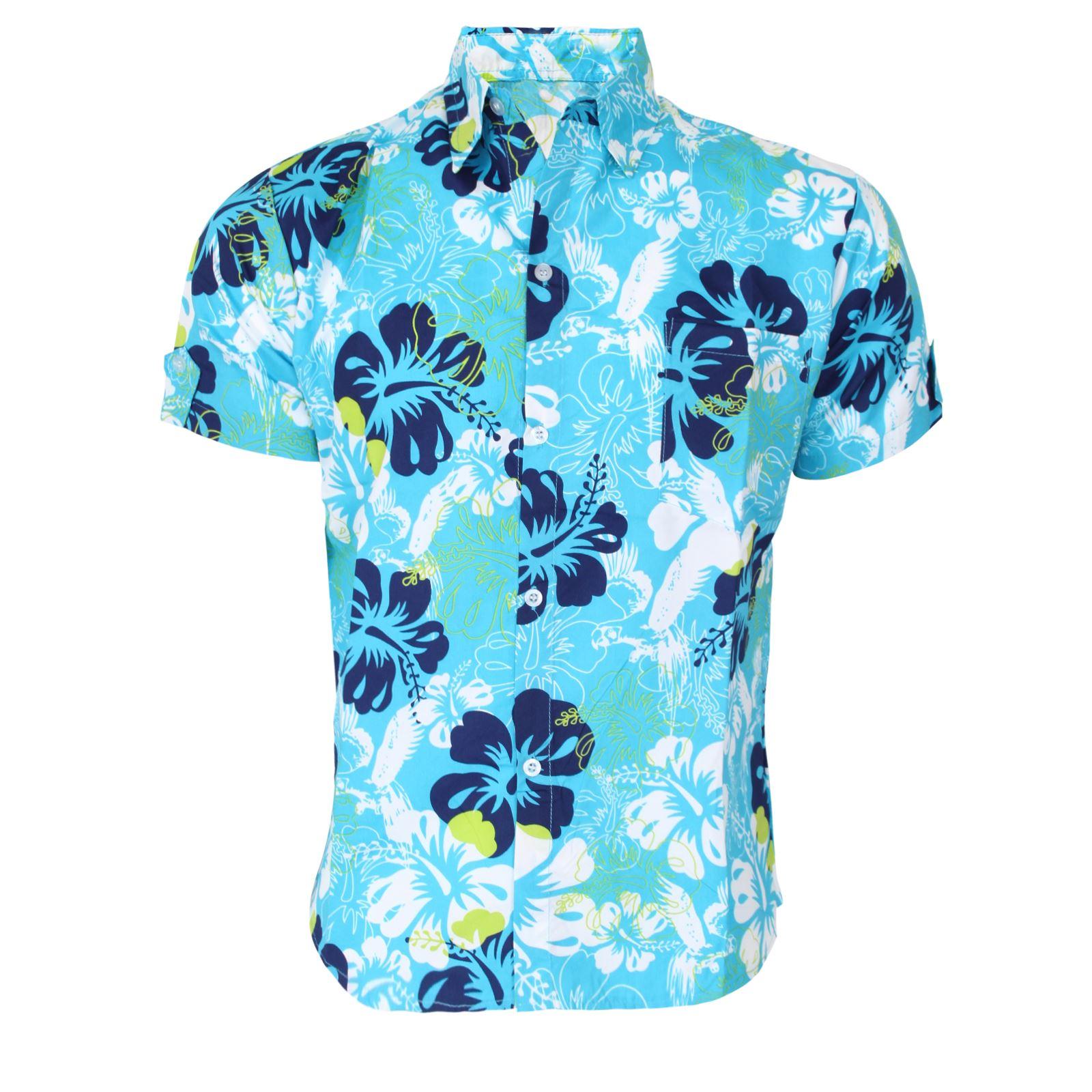 boys girls kids hawaiian shirt floral beach fancy dress
