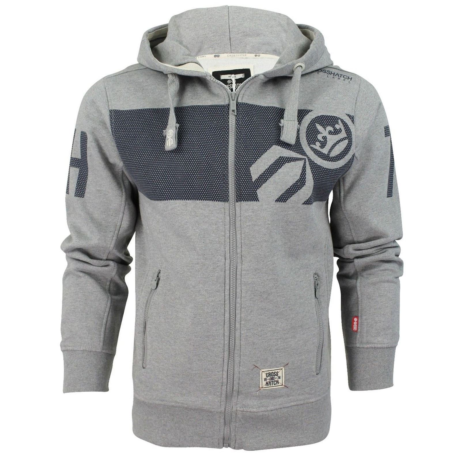 MENS BRANDED CROSSHATCH DESIGNER PULLOVER HOODED JACKET TOP ...