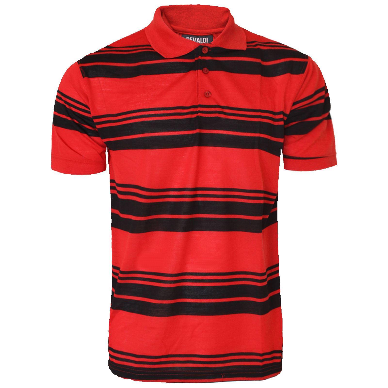 Mens Striped Short Sleeve Polo Shirt Top Golf T Shirt