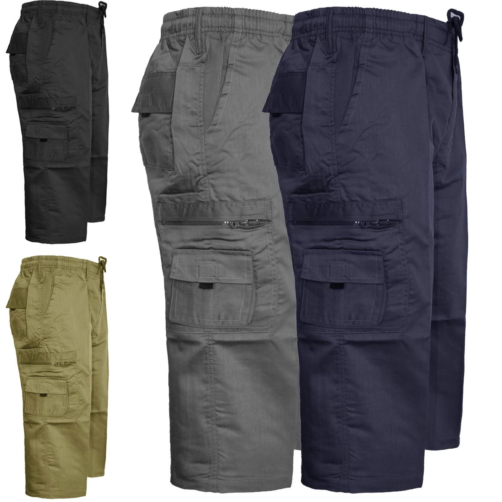 MENS CARGO COMBAT 3/4 SHORTS ELASTIC WAIST CASUAL PANTS BIG SIZES ...