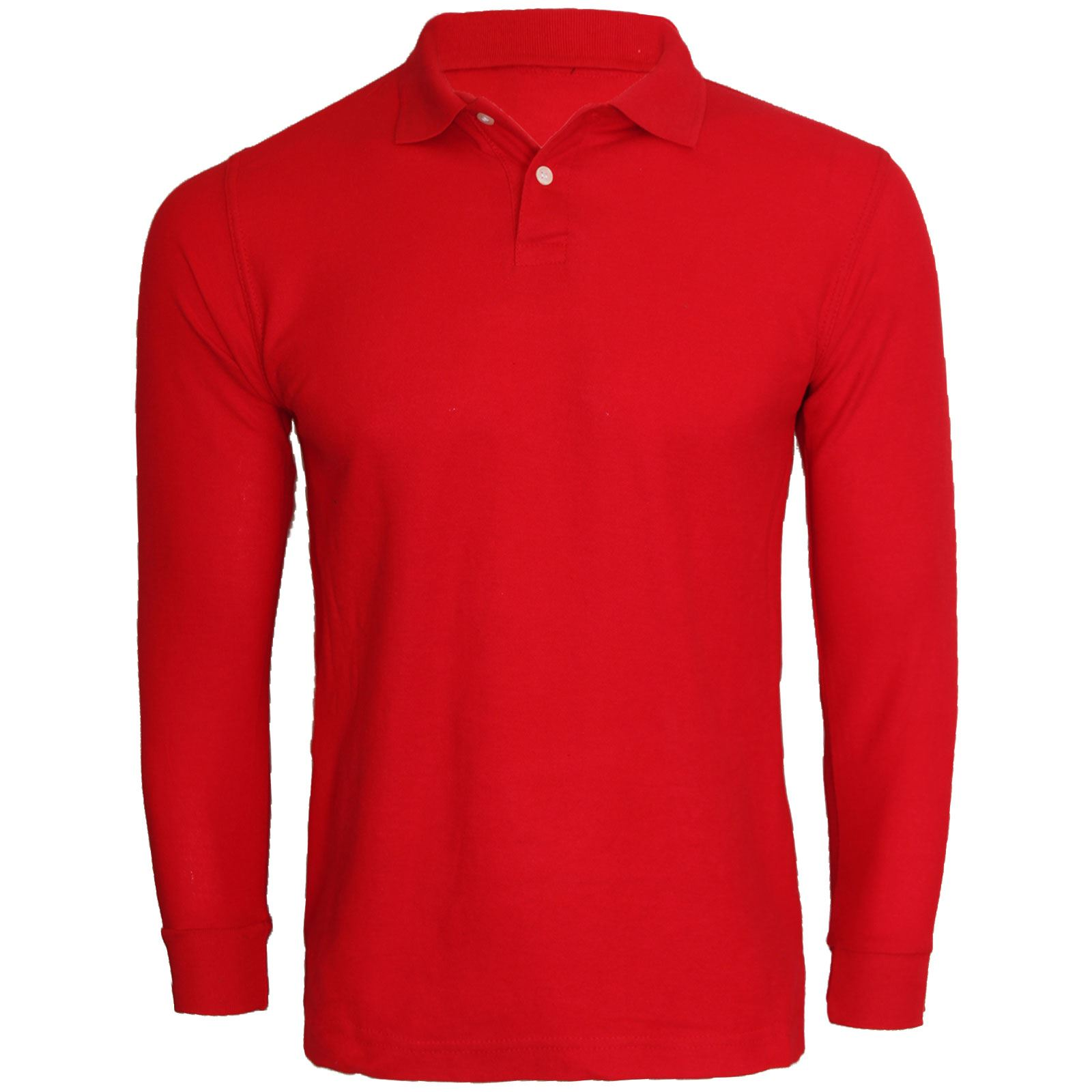 NEW MENS LONG SLEEVE CASUAL WARM WINTER POLO SHIRT PIQUE TOP PLAIN ...