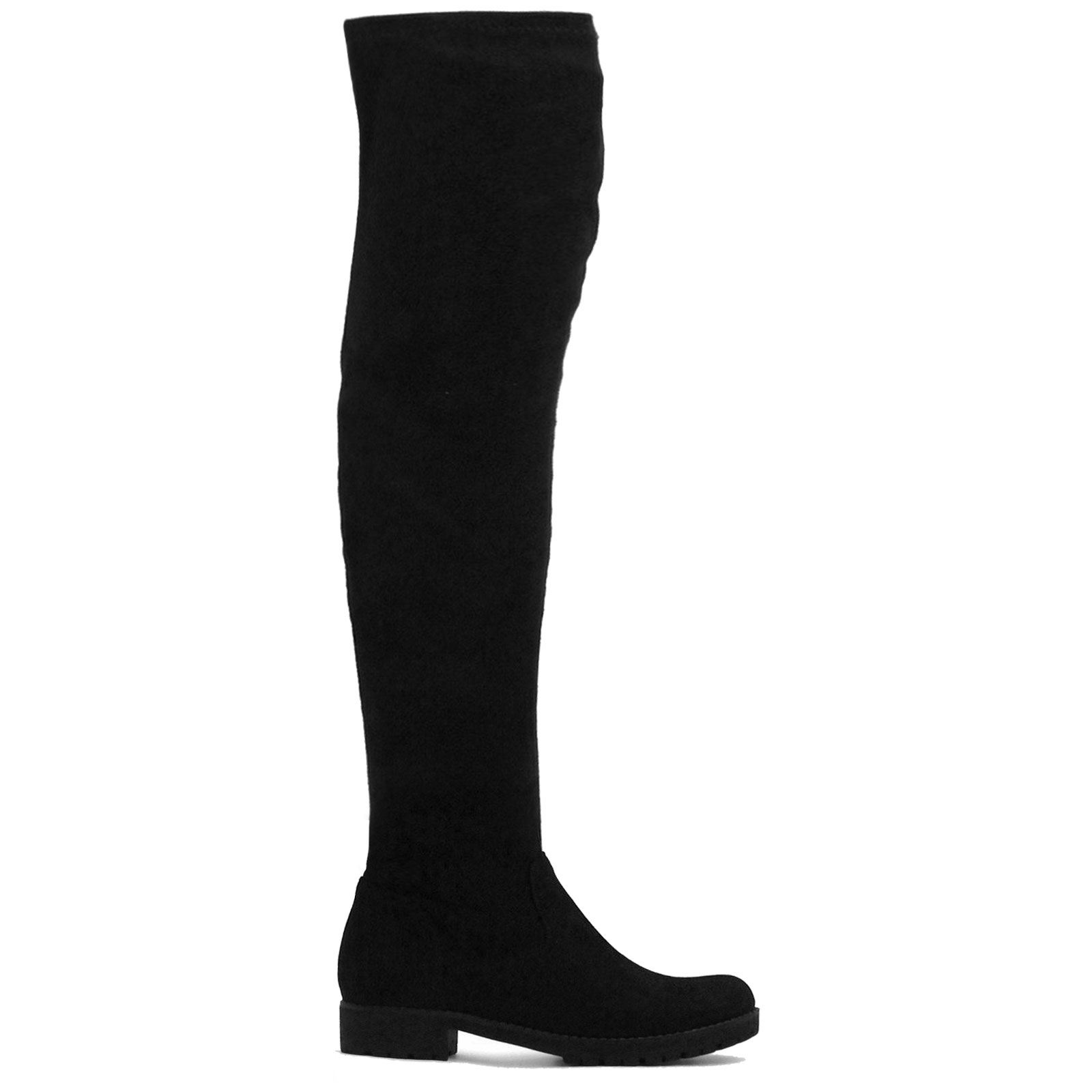 LADIES WOMENS OVER THE KNEE LONG THIGH HIGH CHUNKY PLATFORM HEEL ...