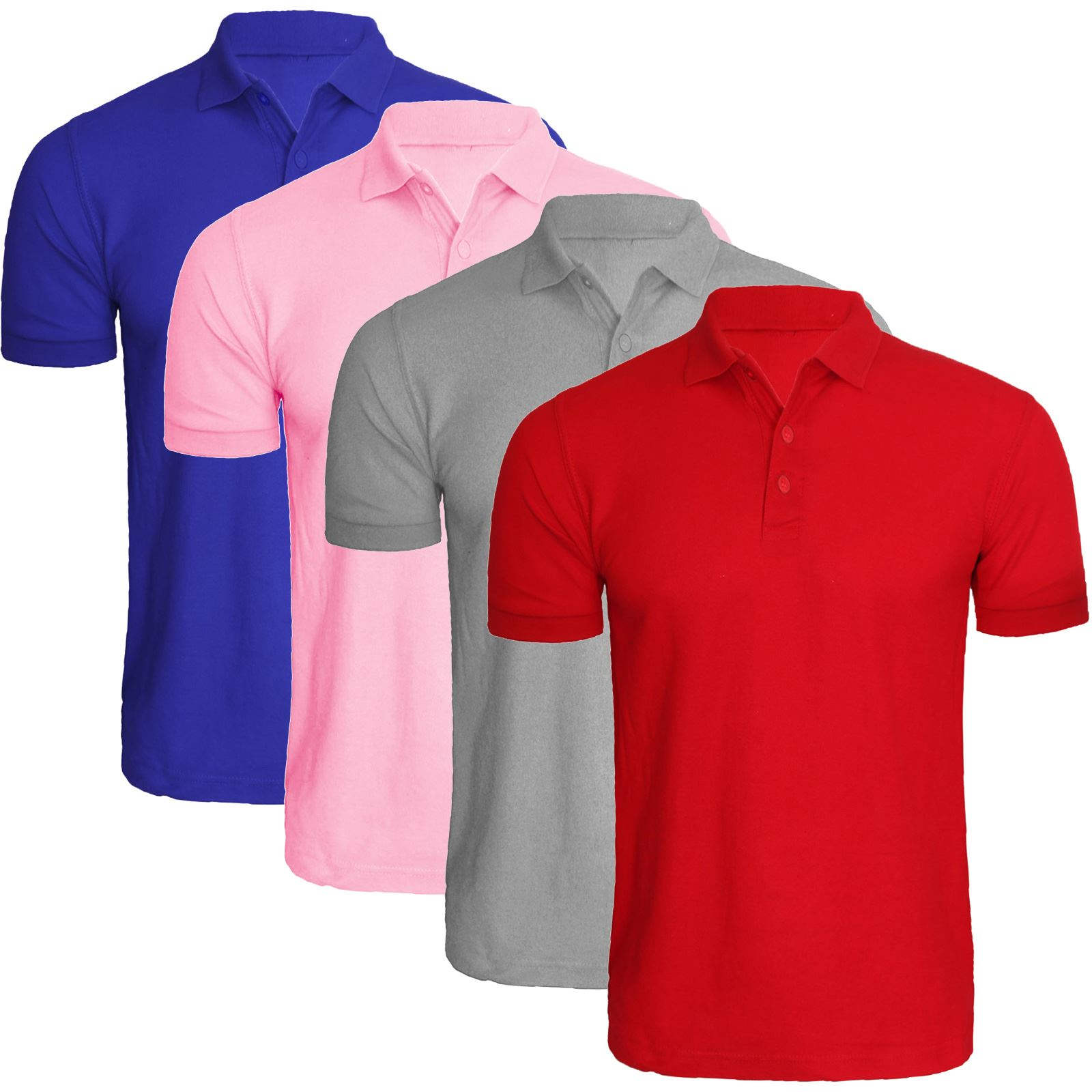 New mens plain pack of 4 polo shirts multi 4 pack cotton for Plain t shirt pack