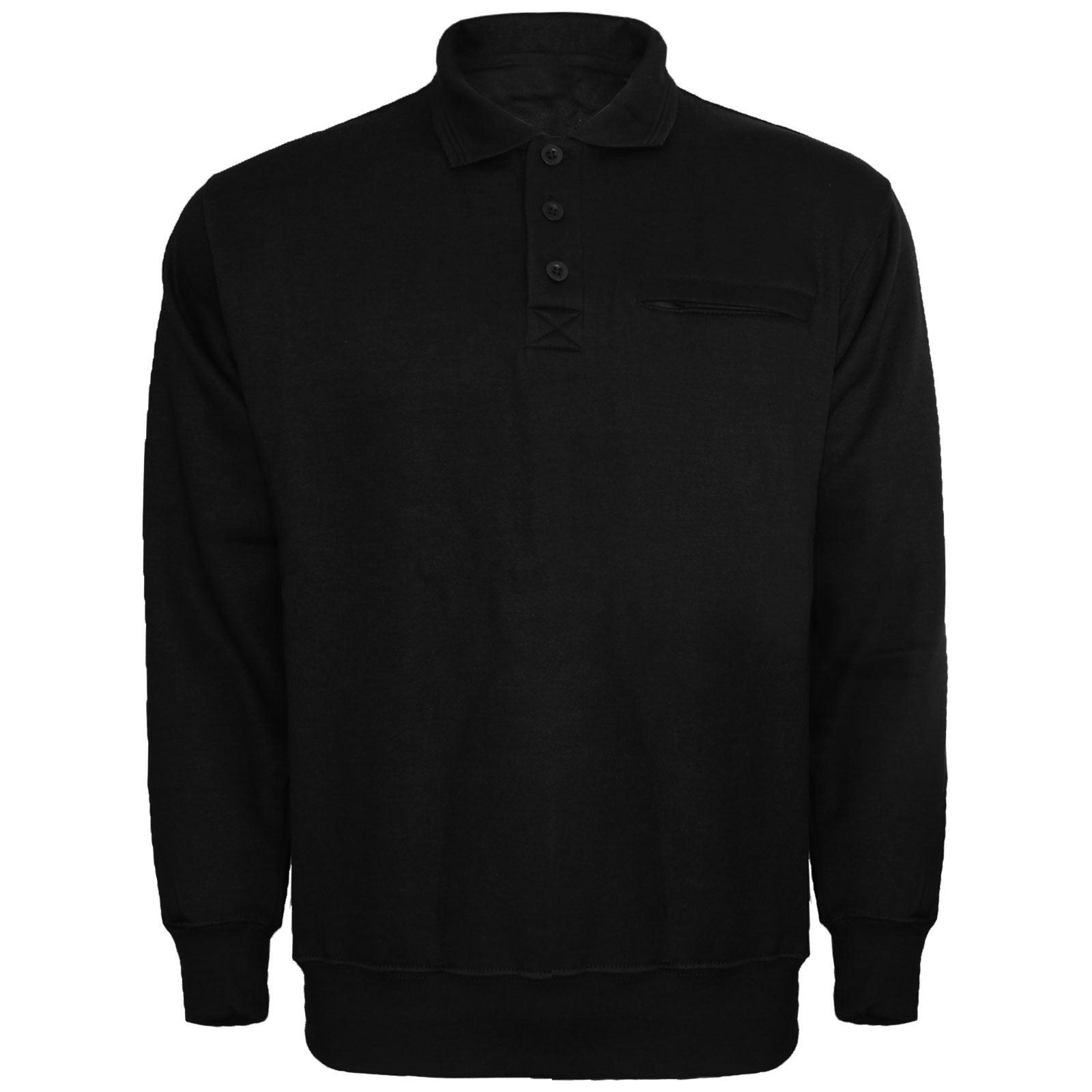 Plain black t shirt xxl - New Mens Plain Polo Sweatshirt Jumper Button Collared