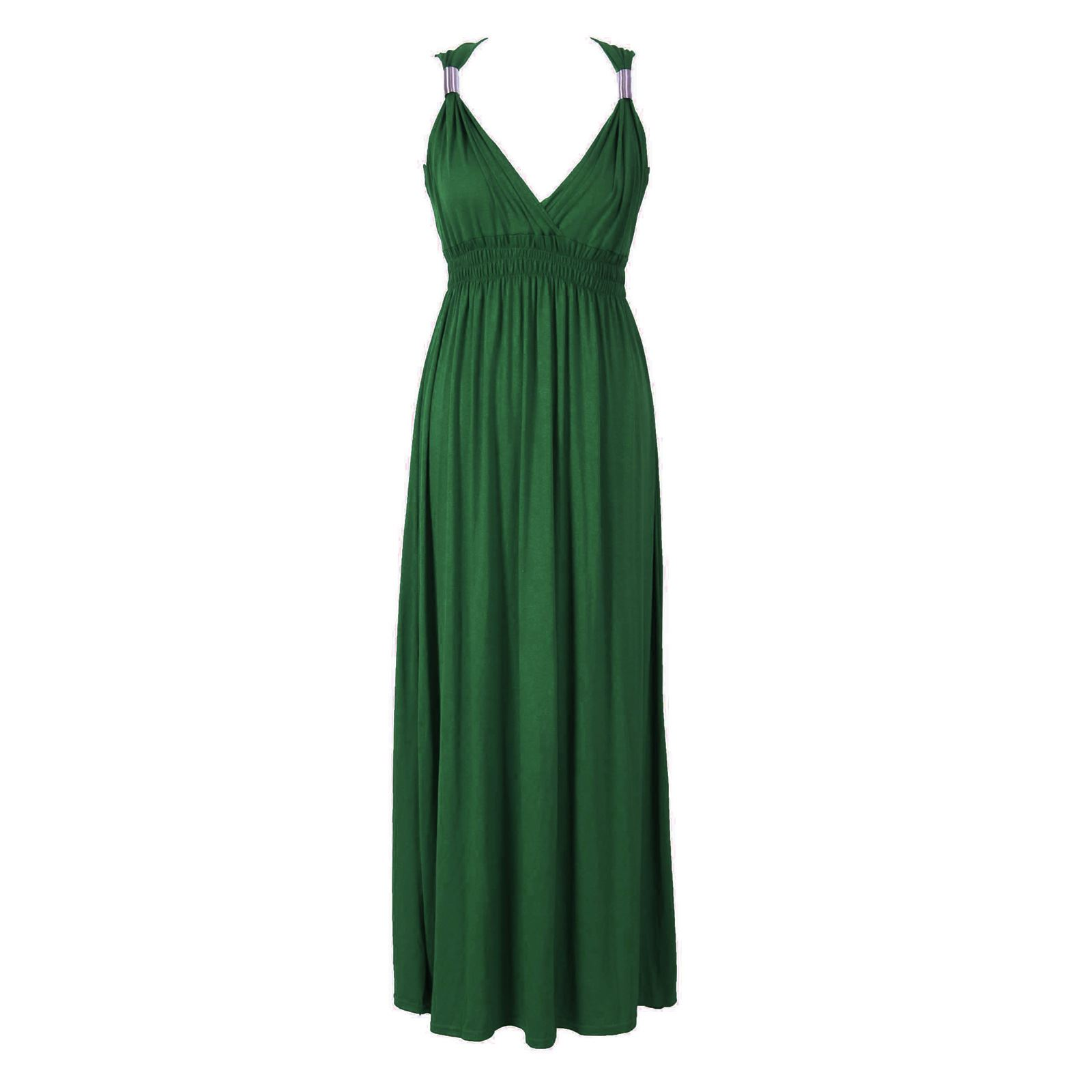 NEW-LADIES-WOMENS-SLEEVELESS-LONG-JERSEY-STRETCH-COIL-SPRING-MAXI-DRESS-SIZE-814