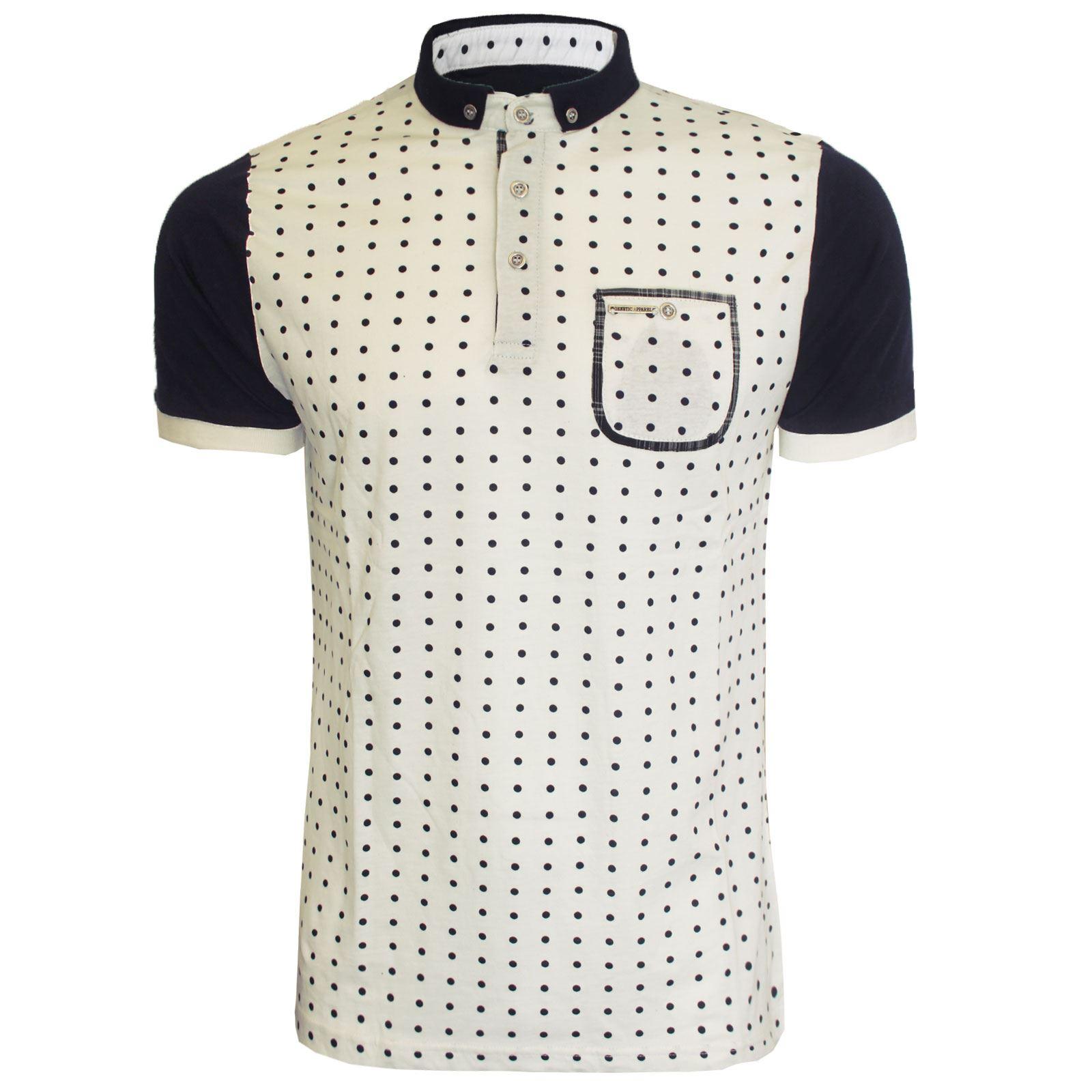 Shirt design style - New Mens Polka Design Style Short Sleeve Collar
