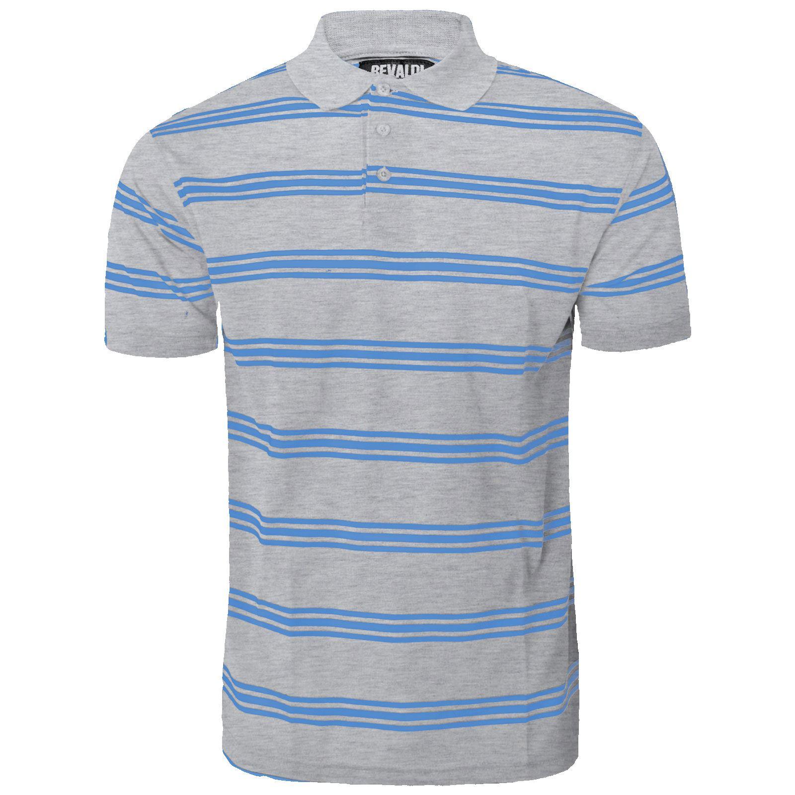 Mens Striped Polo Shirt Short Sleeve Top Button T Shirt