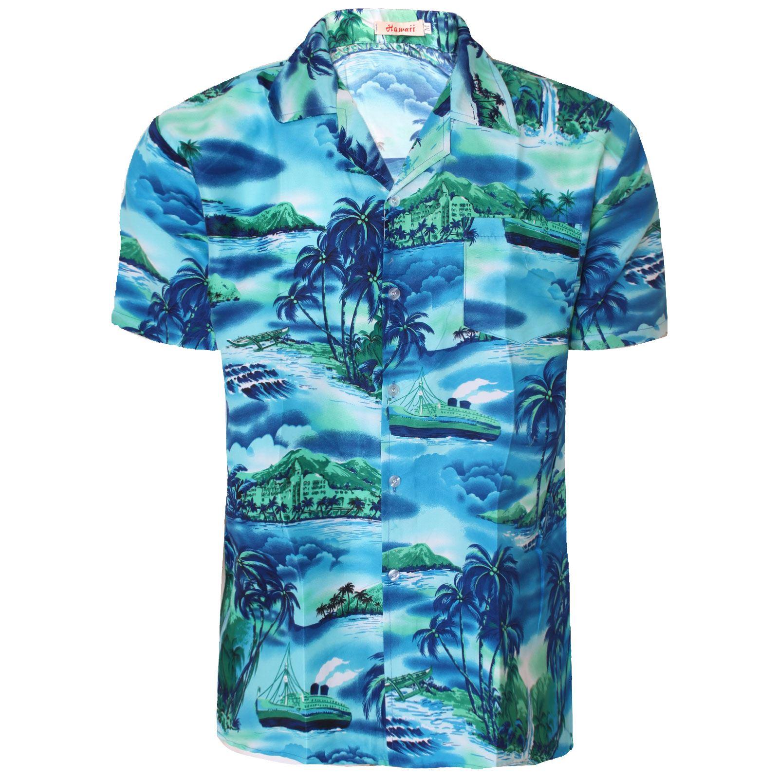 Mens floral hawaiian shirt top surf plum beach island for Flower print mens shirt