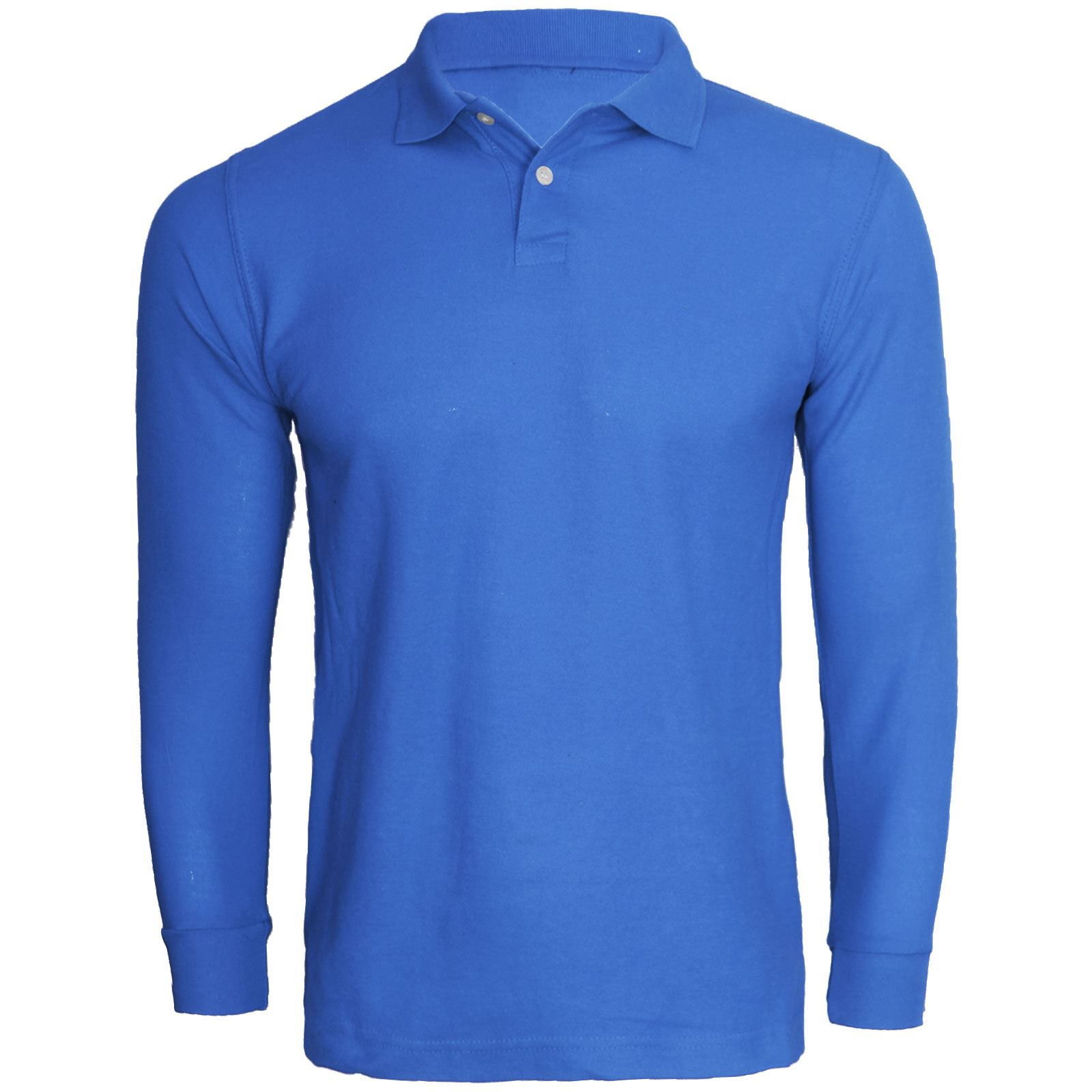 New mens long sleeve casual warm winter polo shirt pique for Mens work polo shirts